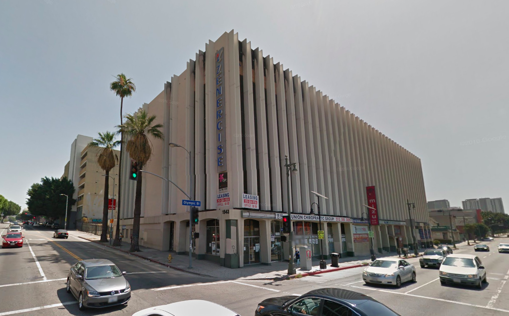 A screenshot of the location, seen via Google Street View, from the intersection of Union and Olympic.