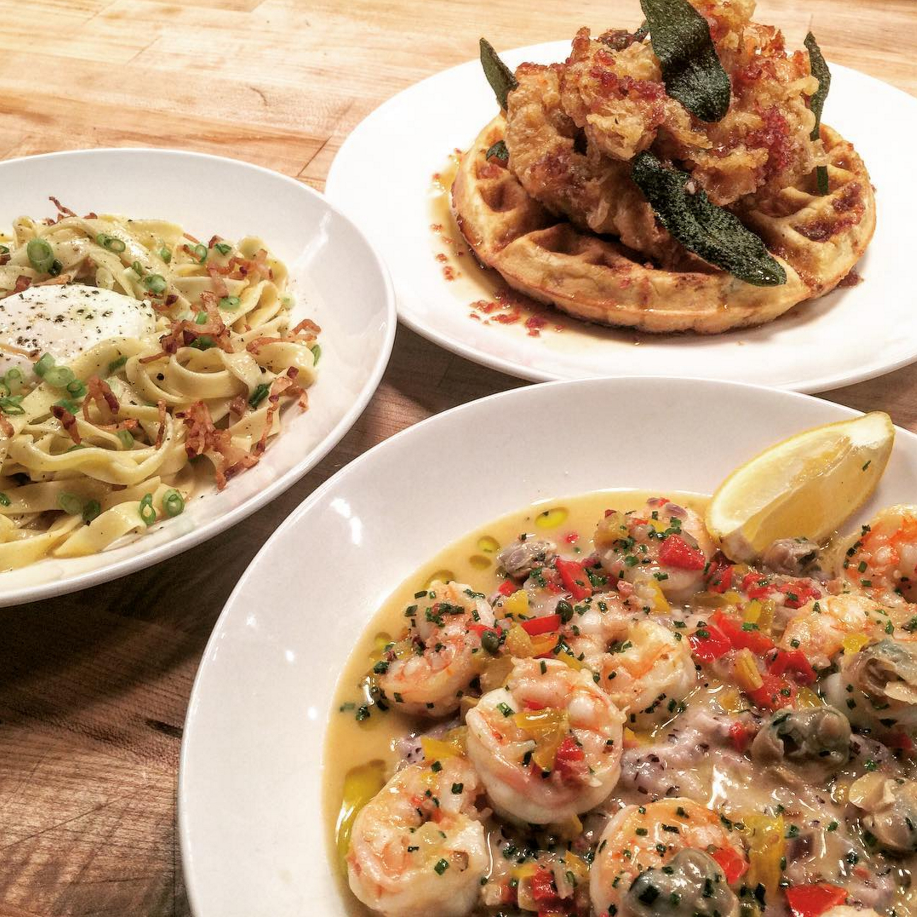 Le Farfalle Brings Tuscan-Fried Chicken and Waffles to the Brunch Table
