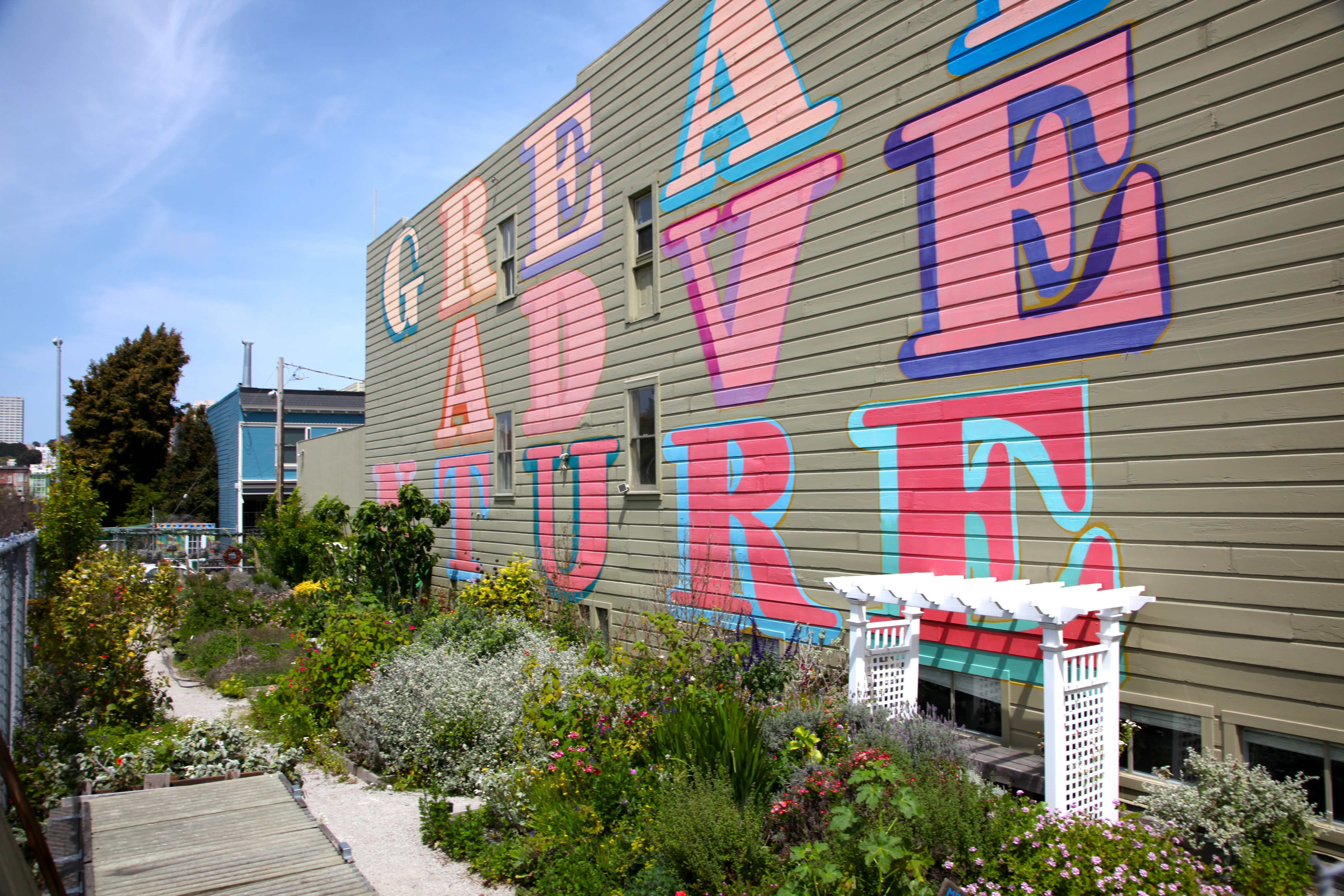 Exterior of Hayes Valley building with urban garden.