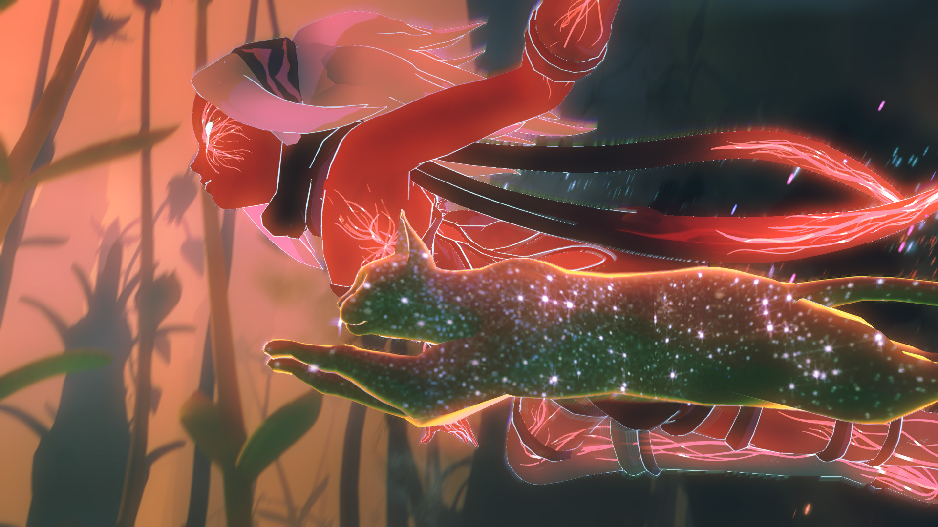 Gravity Rush 2 screenshot - Kat and Dusty flying