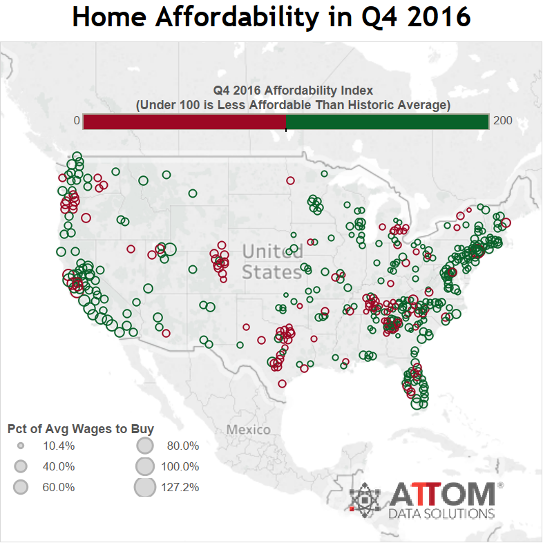 Home affordability in the last quarter of this year, across the country.