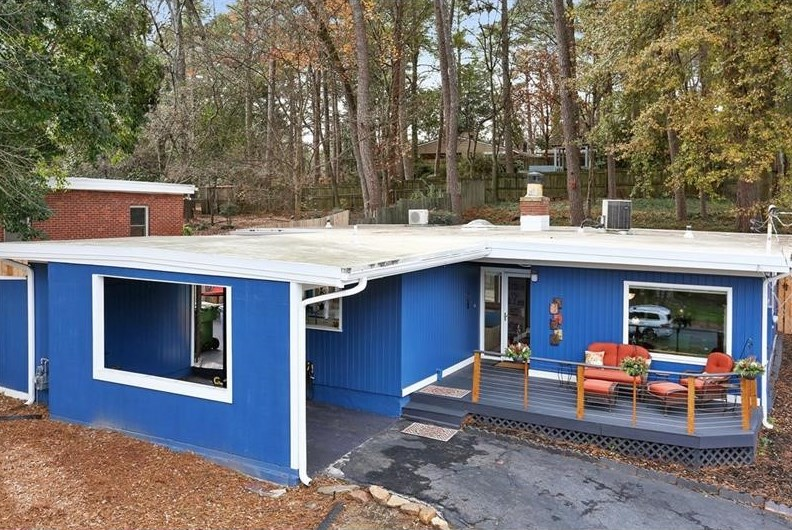 A blue midcentury home in the Garden Hills area of Atlanta.