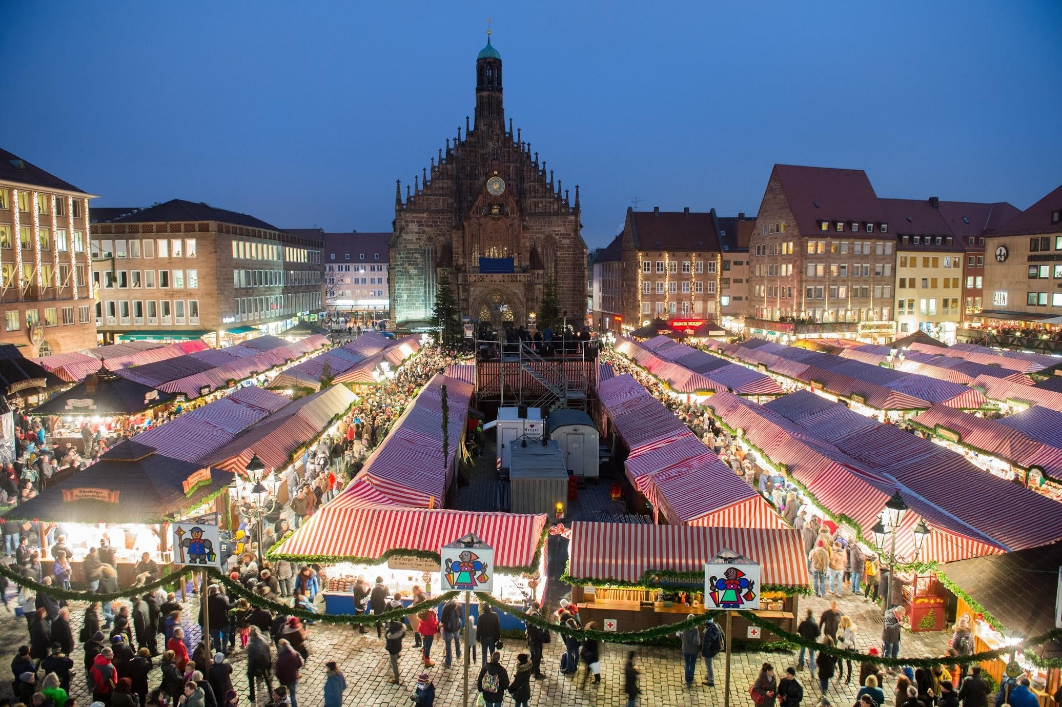 An aerial view of a Christmas market in Nuremberg