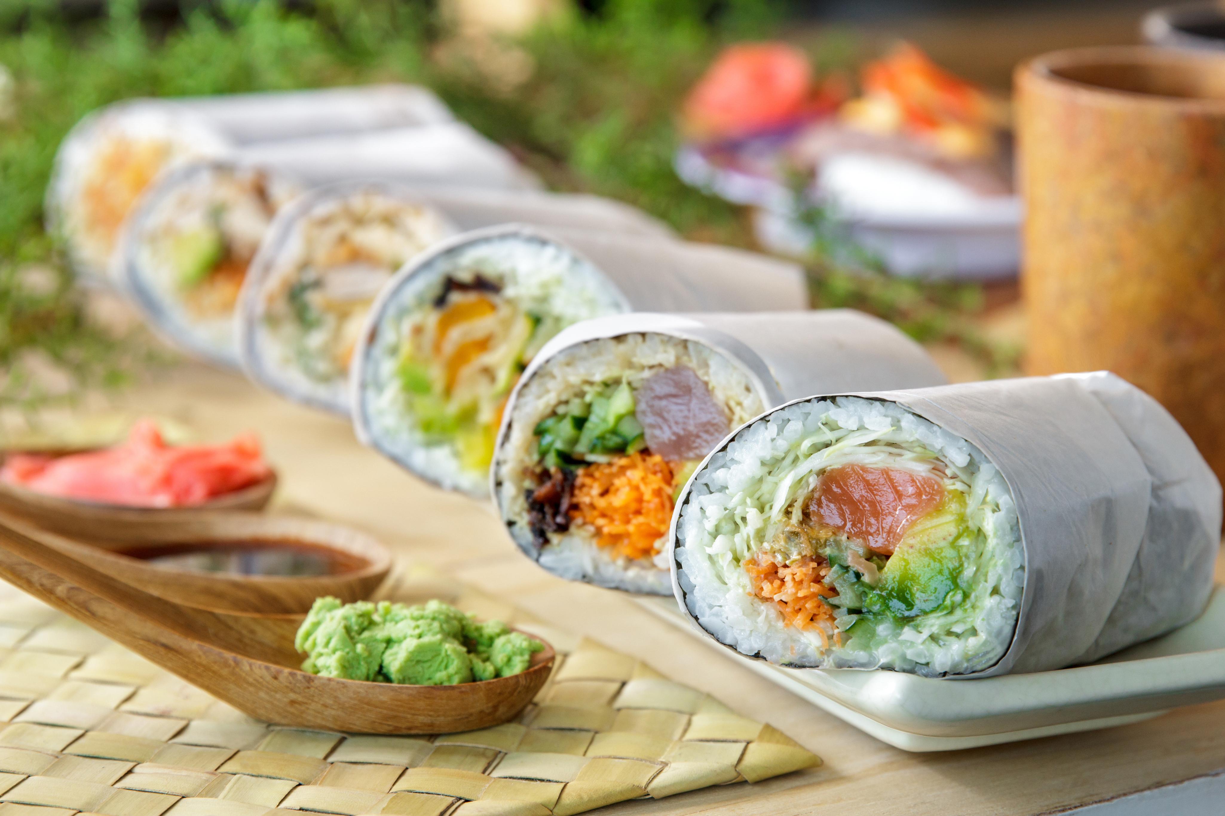 Sushi burrito stock photo
