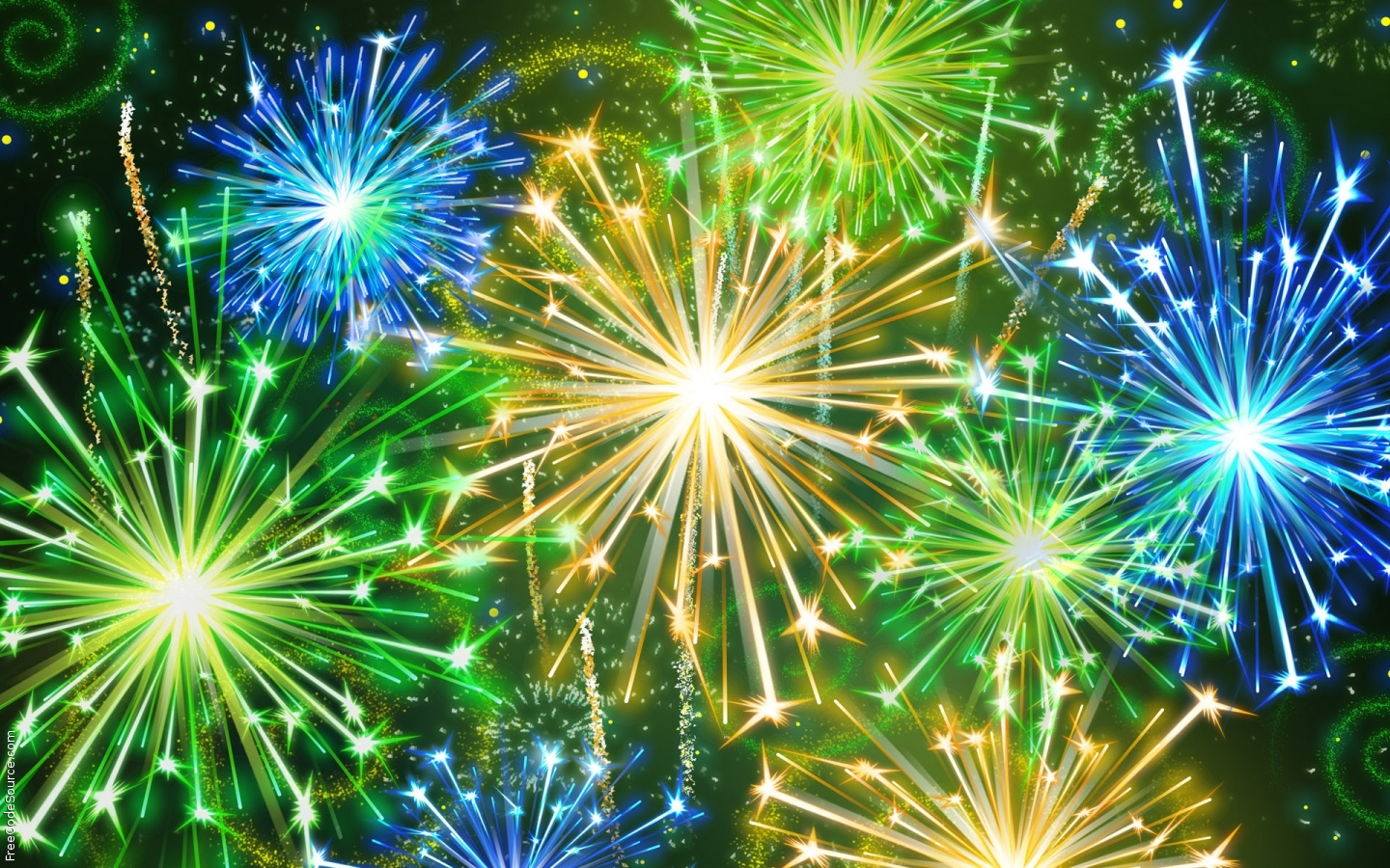 blue, yellow and green fireworks