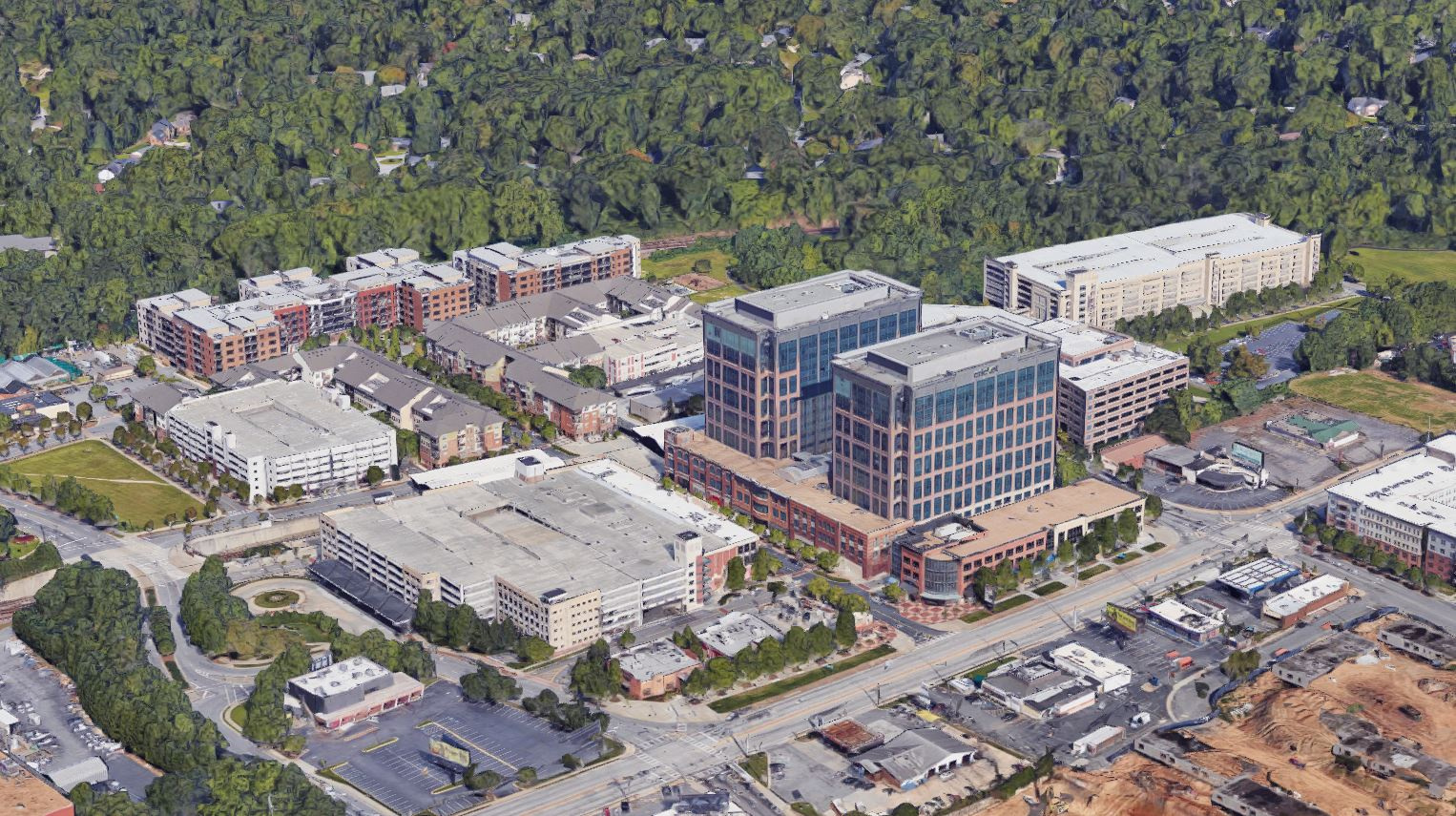An aerial view of the current development around Lindbergh Center.