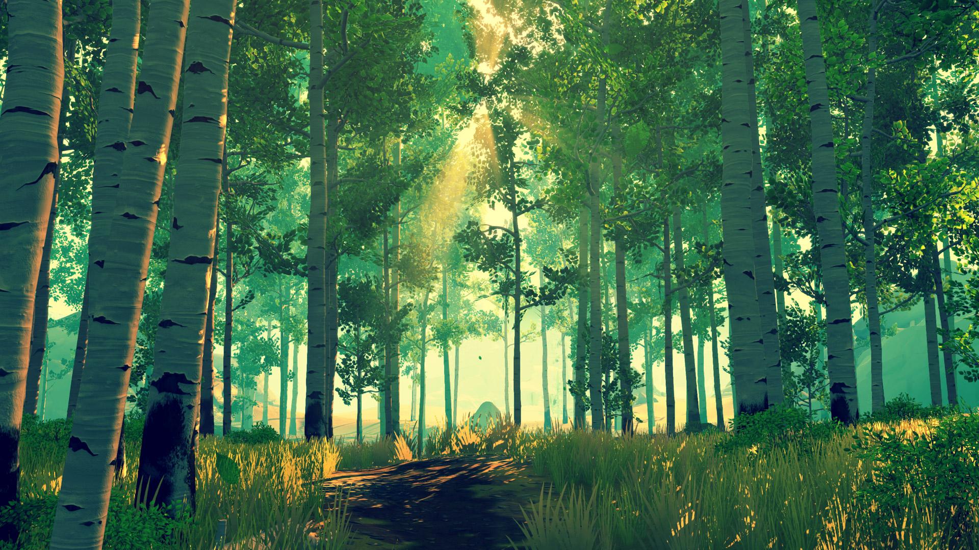 Firewatch - green forest of birch trees