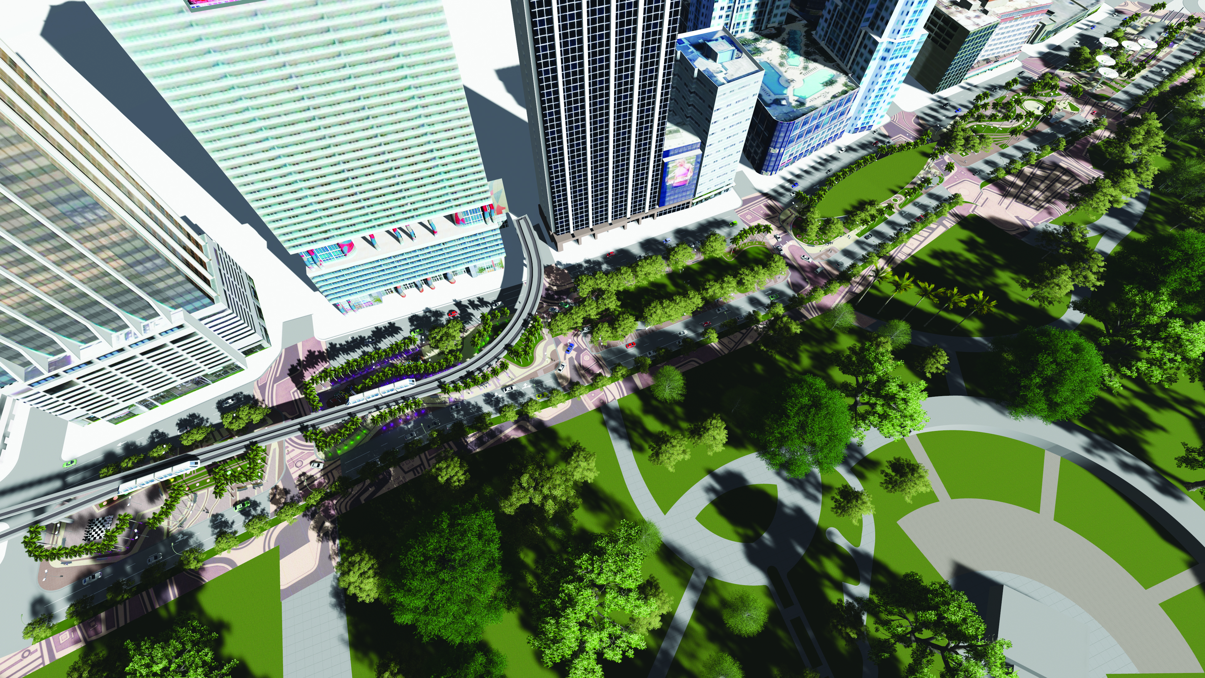 Rendering if a green park initiative along biscayne boulevard