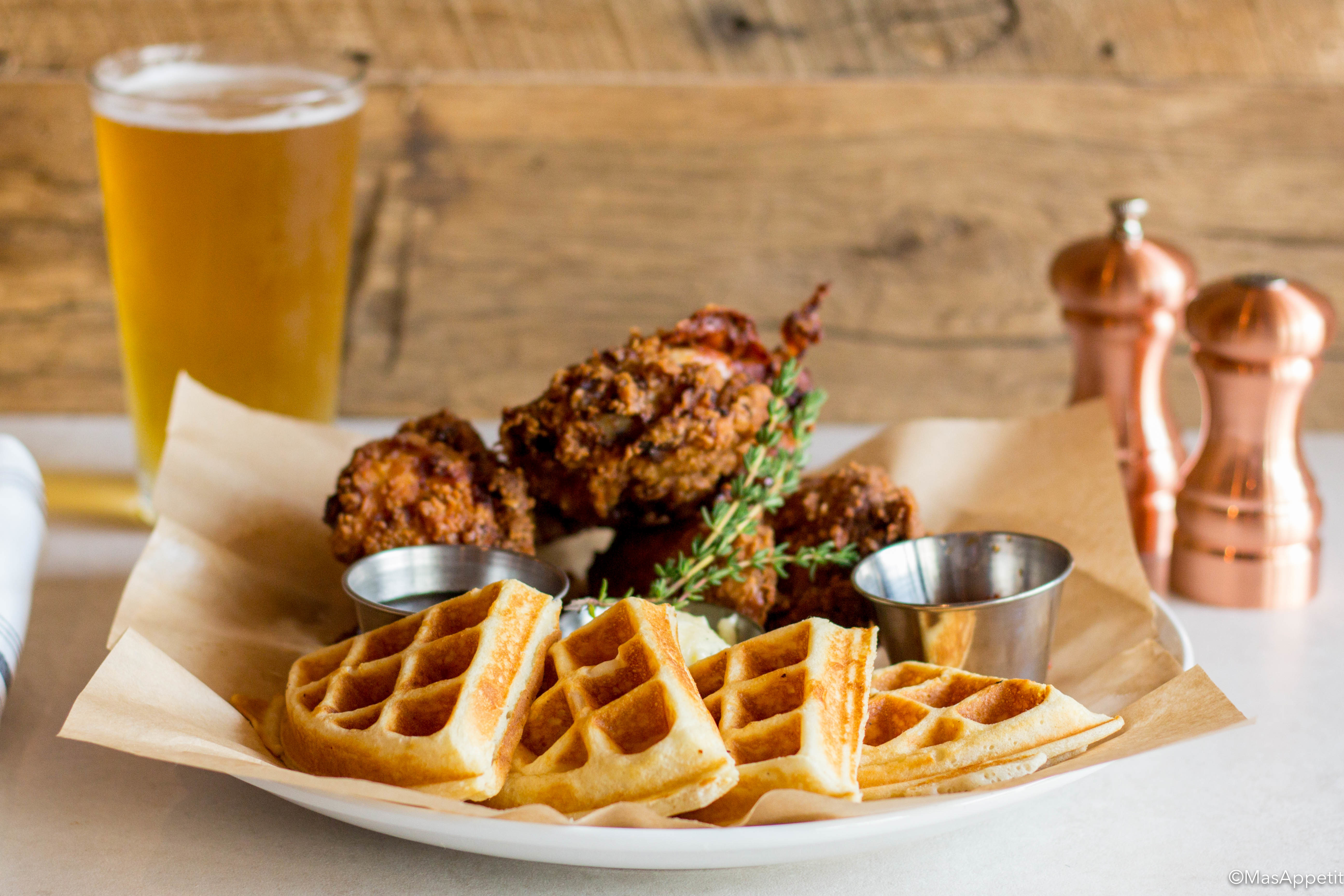 Chicken & waffles (fried chicken, buttermilk waffle, honey-thyme butter, molasses syrup, red pepper jam).