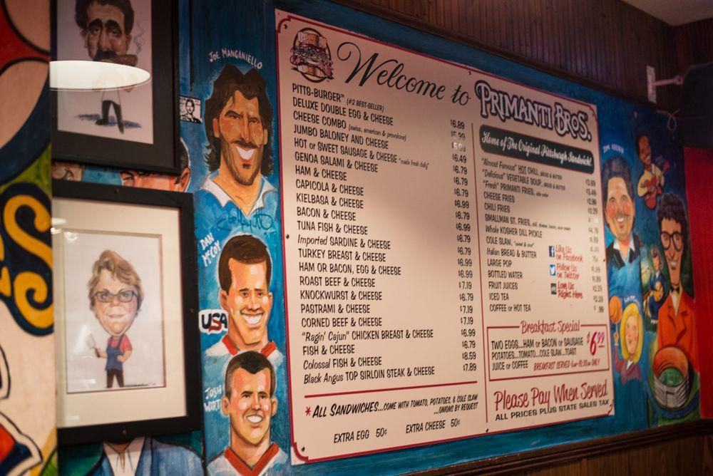 The menu at Primanti Bros.