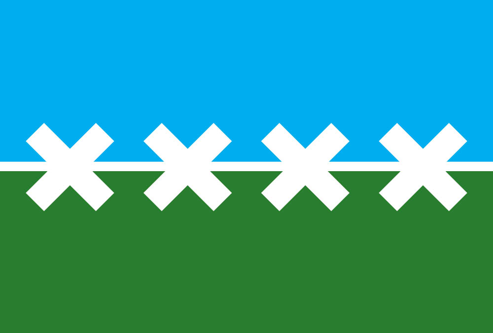 A flag with a blue stripe on top and a green star on bottom with four white Xes and a white line through the middle
