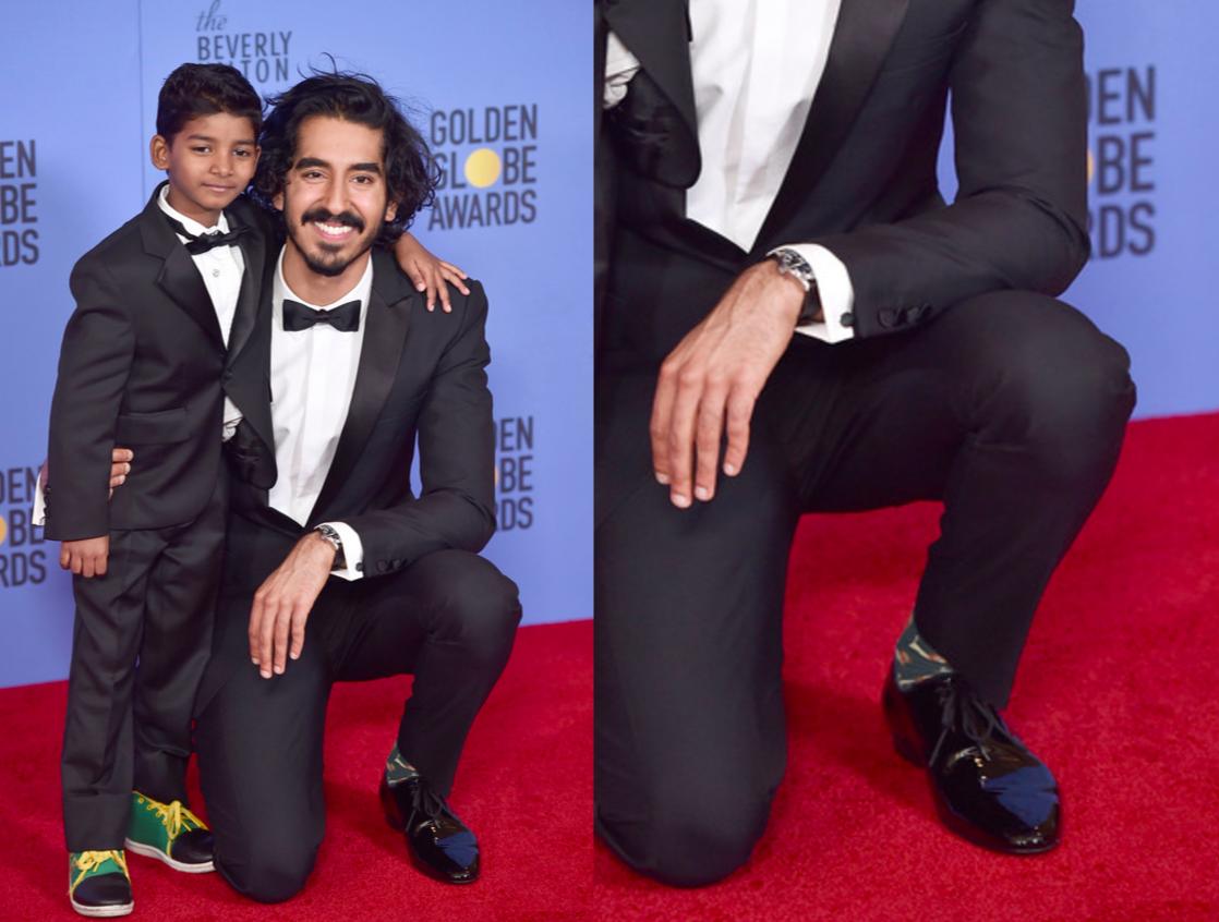 Sunny Pawar, Dev Patel, and Dev Patel's socks at the Golden Globes.