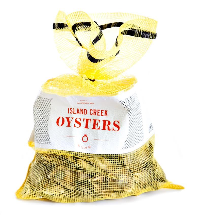 A yellow mesh bag full of raw oysters sits on a white background
