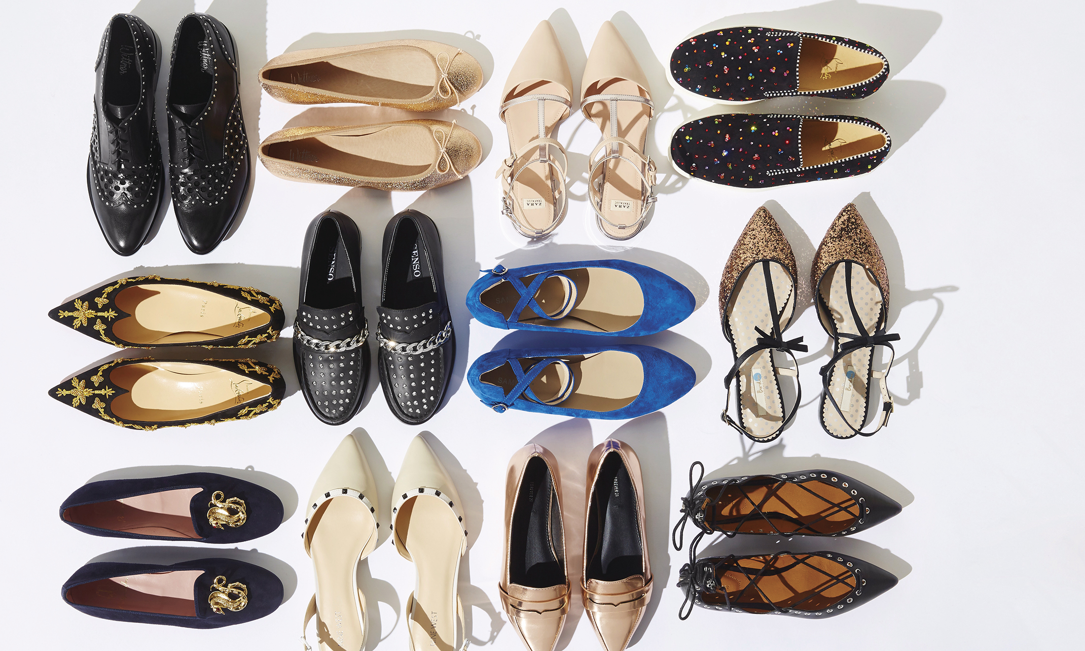 Shoes arranged against a white background.