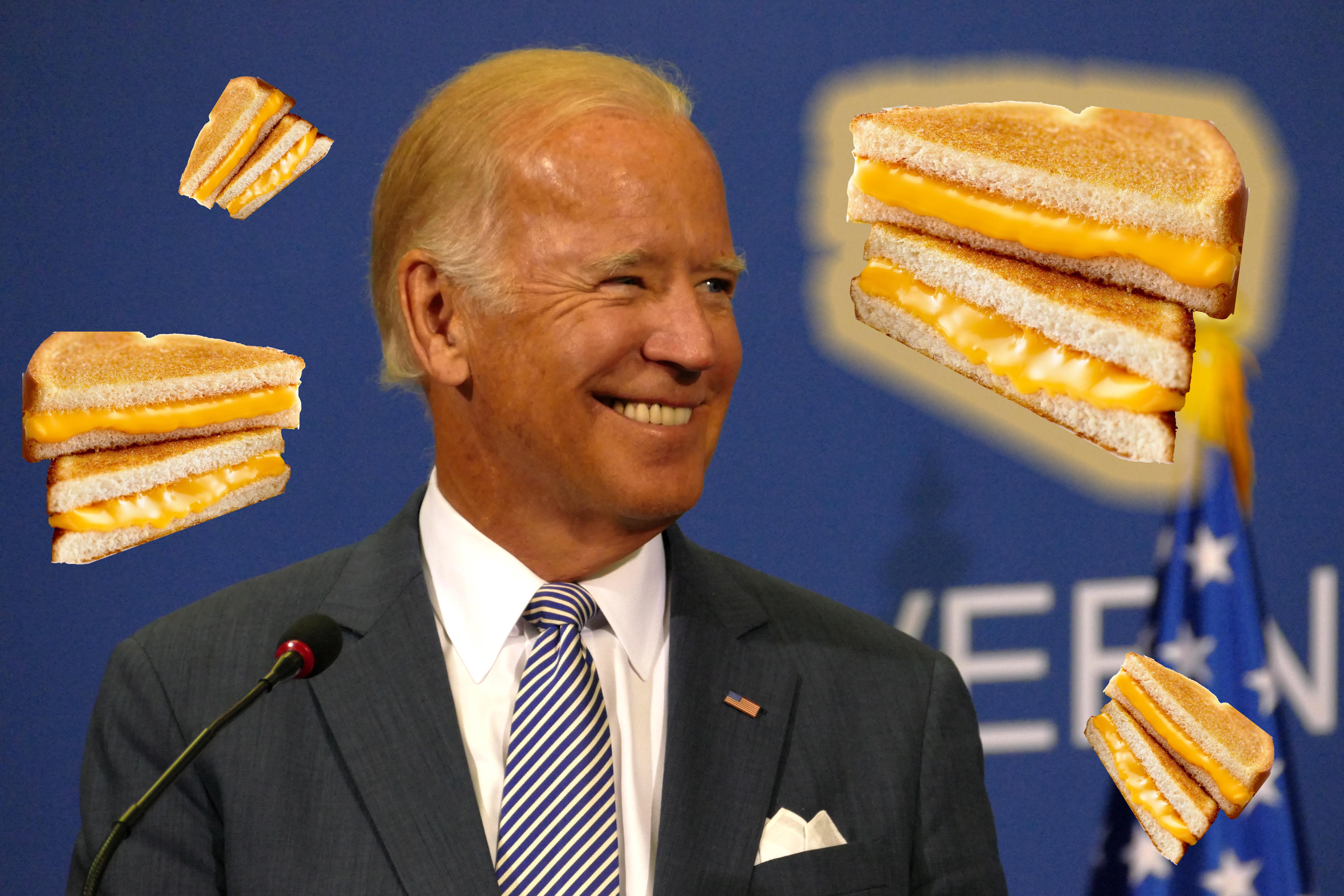 Joe Biden surrounded by grilled cheese