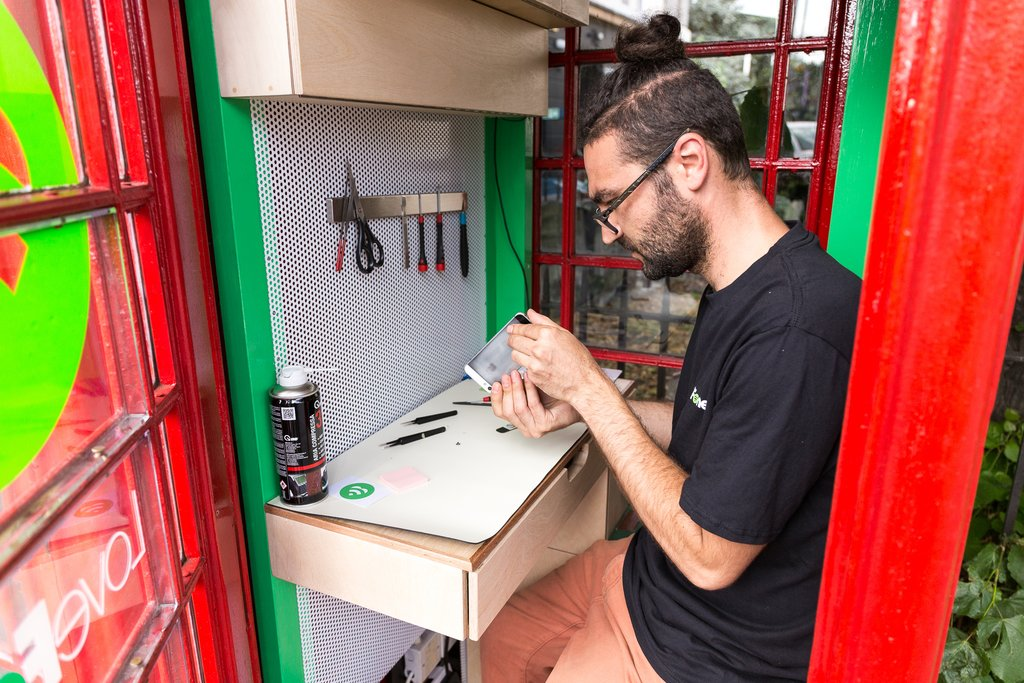 London's iconic red phone booths reborn as tiny phone repair shops