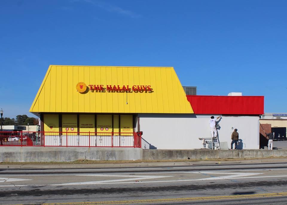 Exterior shot of The Halal Guys building