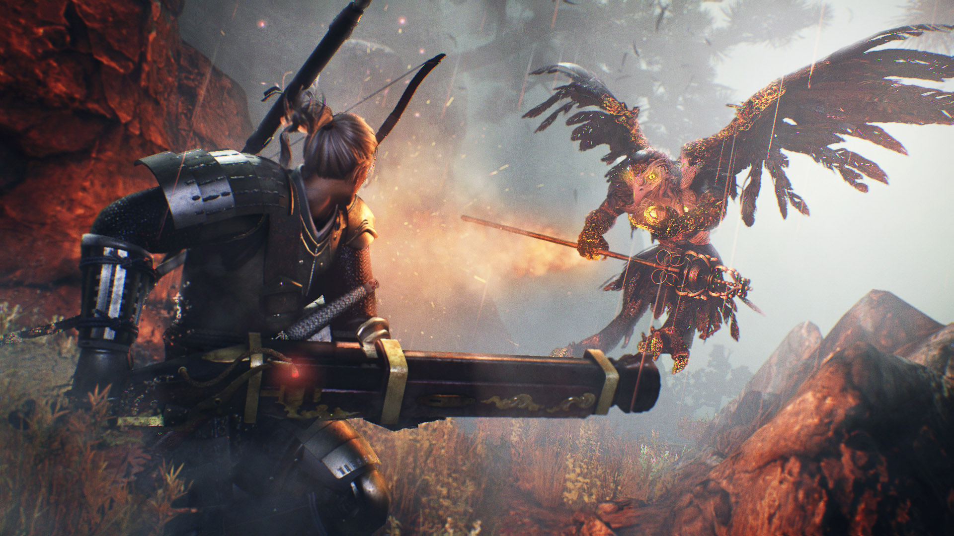 In this screenshot from Nioh, protagonist William faces away from the camera, toward a large bird creature known as a tengu. William carries a large, antique-looking gun of some sort, while the tengu, floating just off the ground, has a massive, ornate st