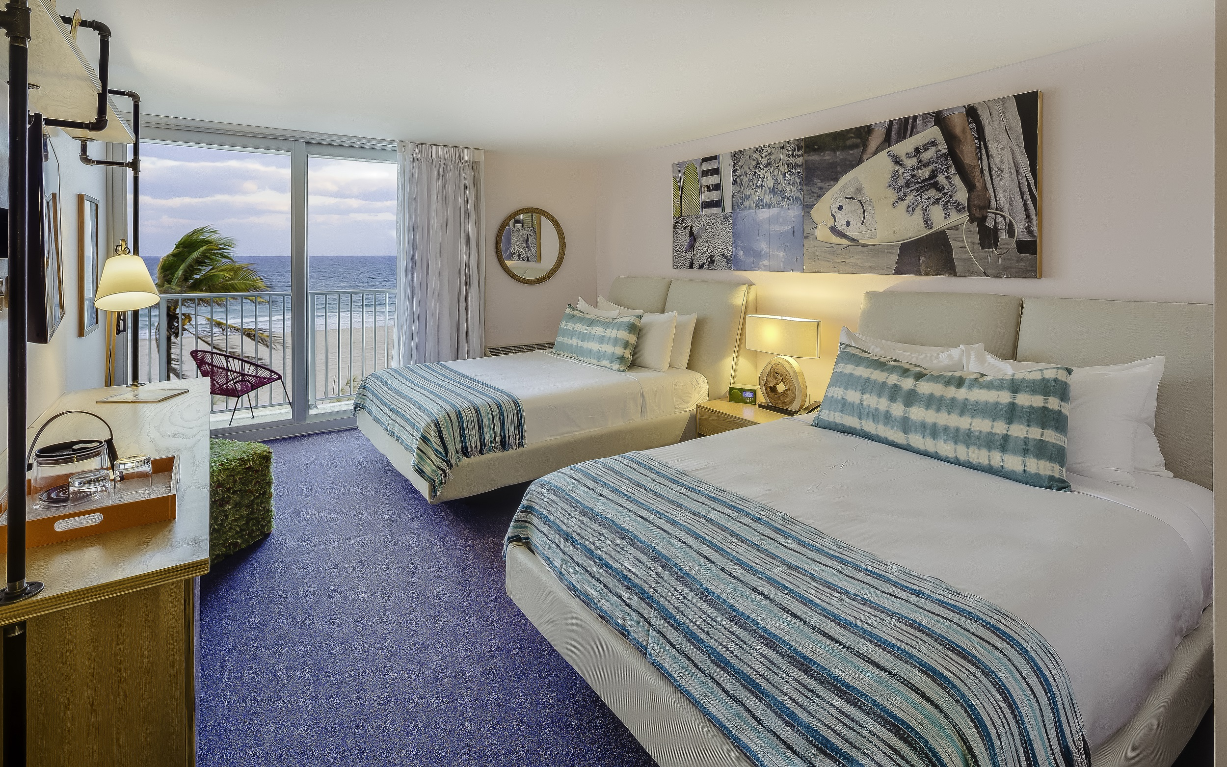 A new hotel room in Fort Lauderdale with a beachy vibe and aquatic interior