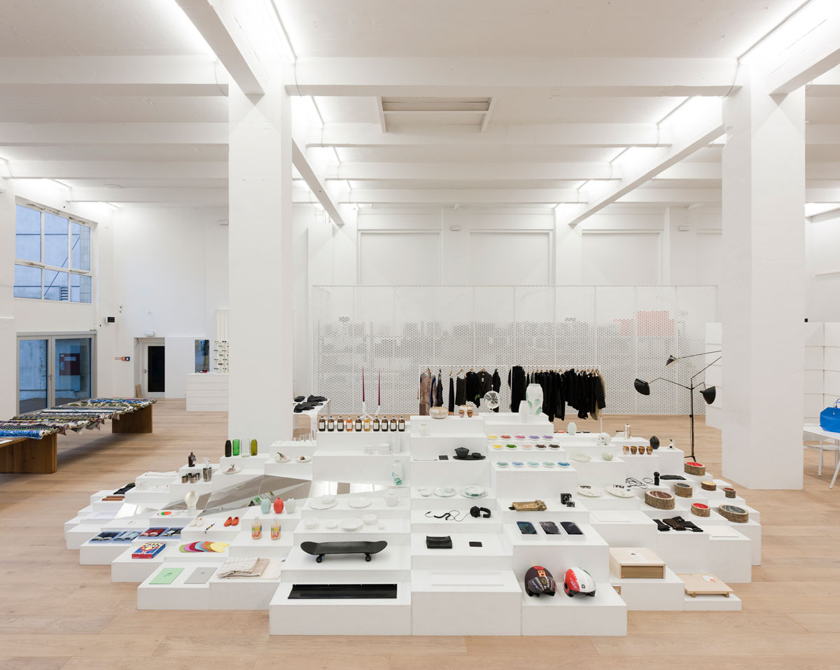 the inside of conept shop murkudis looks like a white gallery space