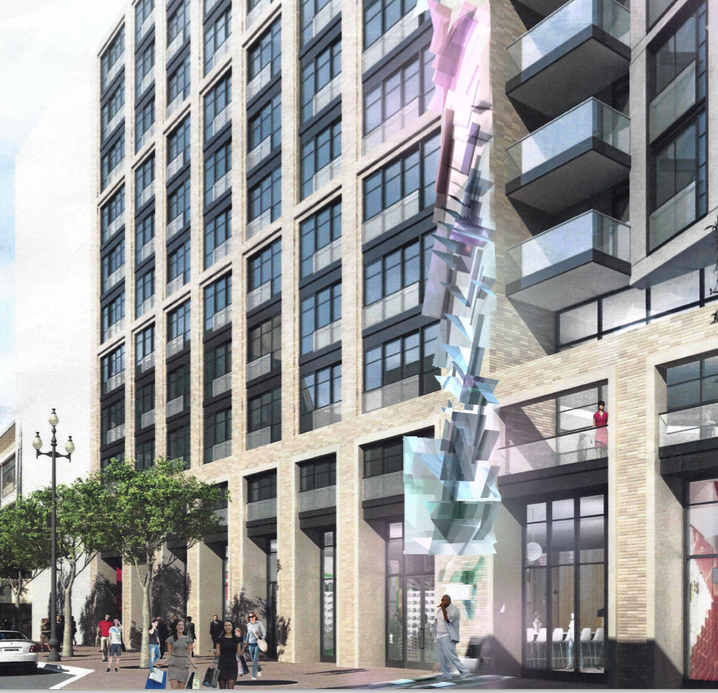 A rendering of Sanaz Mazinani's new art piece proposed for Market Street, a long, vertical column of overlapping, irregular glass and steel shapes reflecting a rainbow of colors.