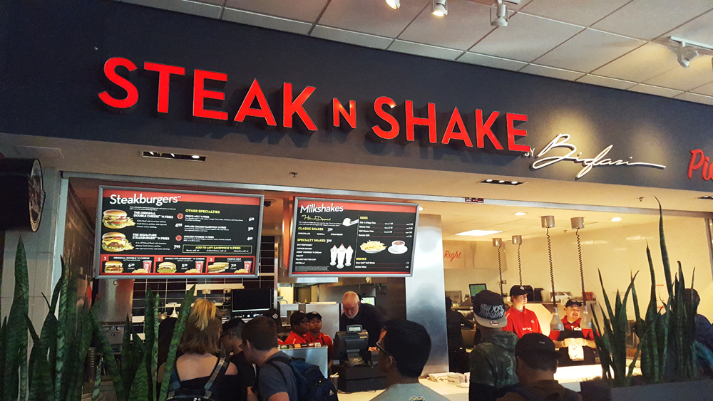 Steak is for STEAKBURGER. Shake is for hand-scooped MILK SHAKES. Steak 'n Shake at The Pinnacle is for good times enjoying the country's best, freshest and tastiest premium burgers and shakes. There's more to this than the charm of a classic diner atmosphere, and you realize it in every mouthful.