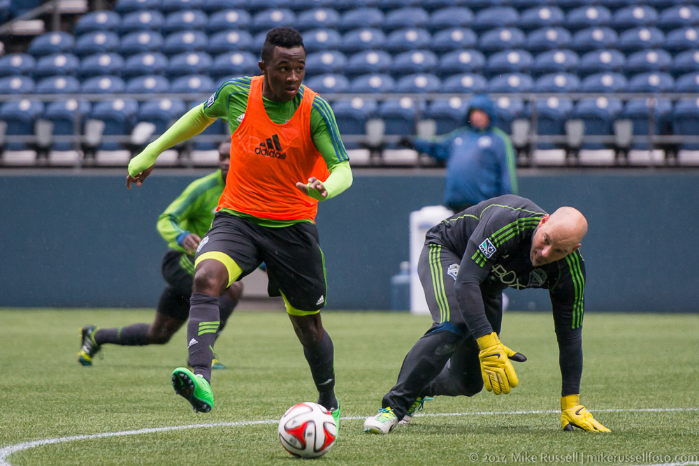 This is Seyi Adekoya rounding Marcus Hahnemann while training with the Seattle Sounders 1st team.