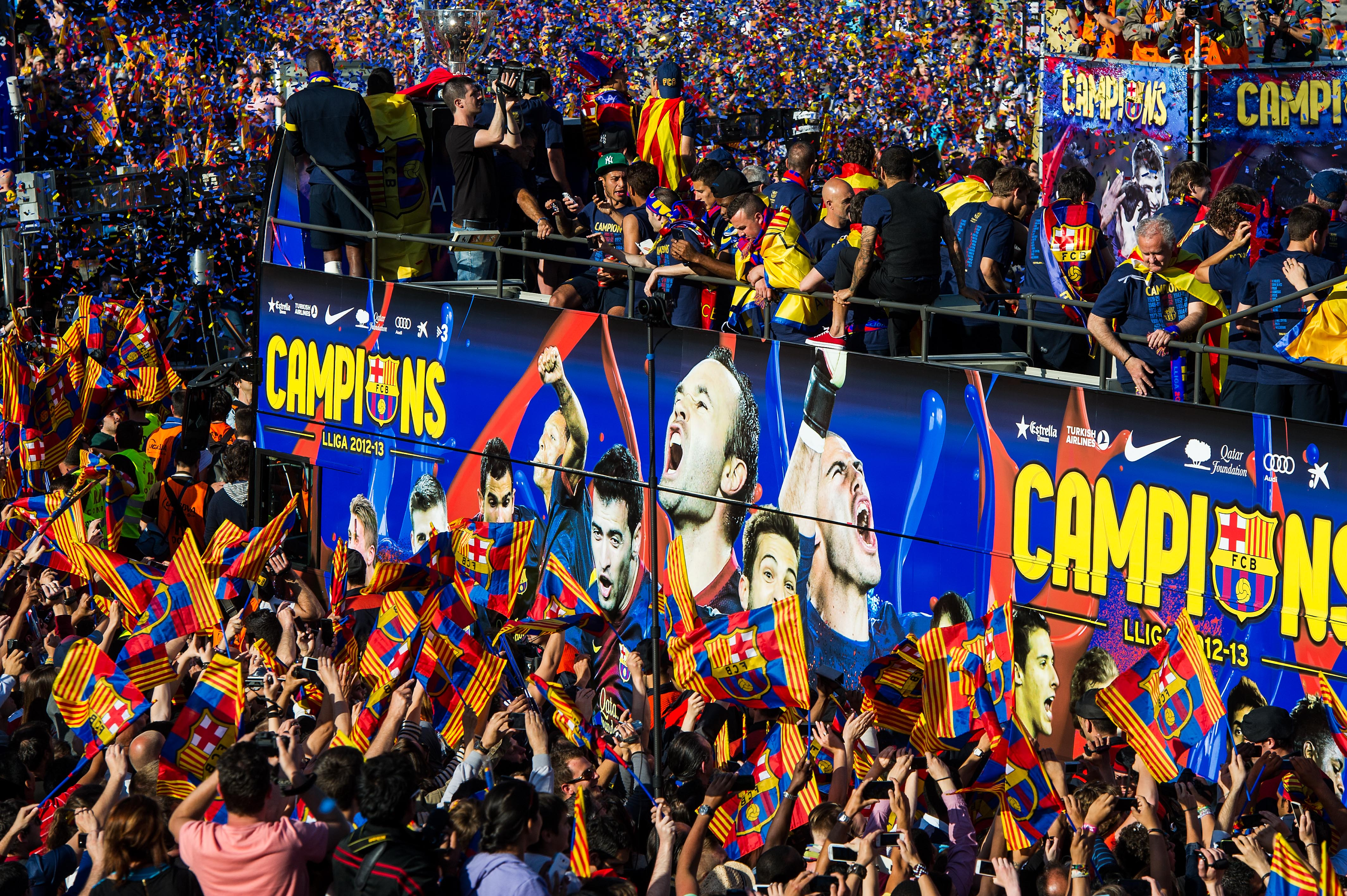 FC Barcelona Celebrate Winning The Spanish Liga With A Victory Parade