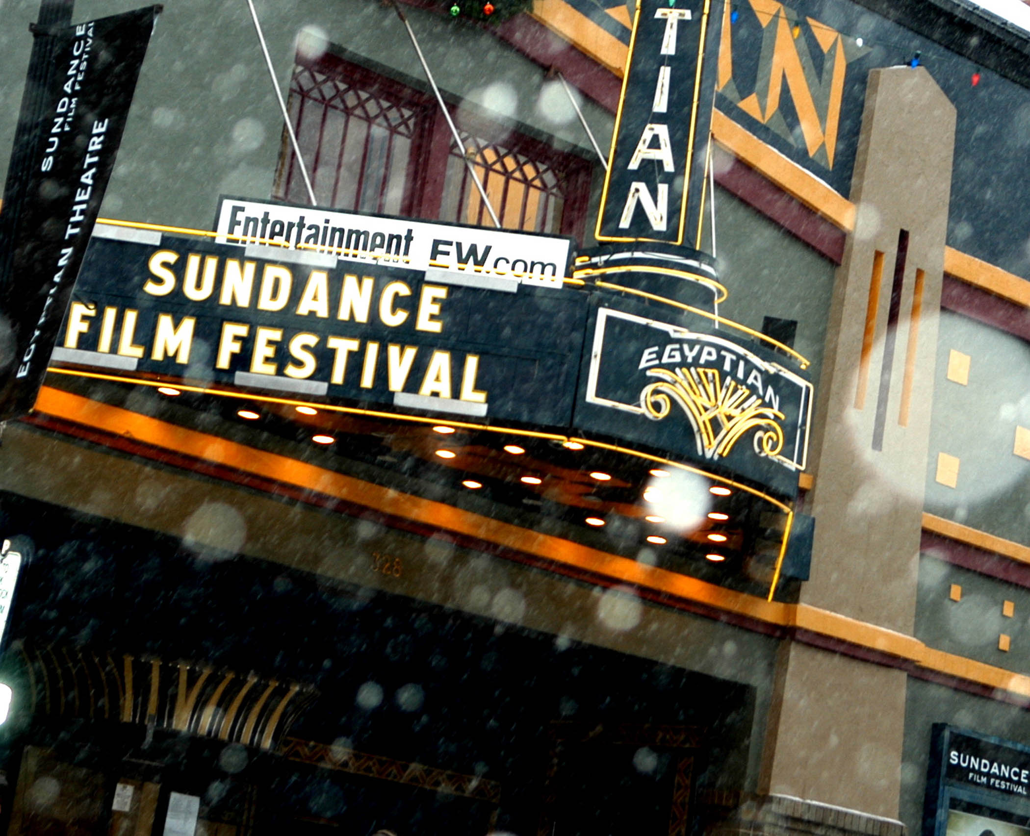 "The Egyptian Theater marquee reads ""Sundance Film Festival"" in Park City, Utah."