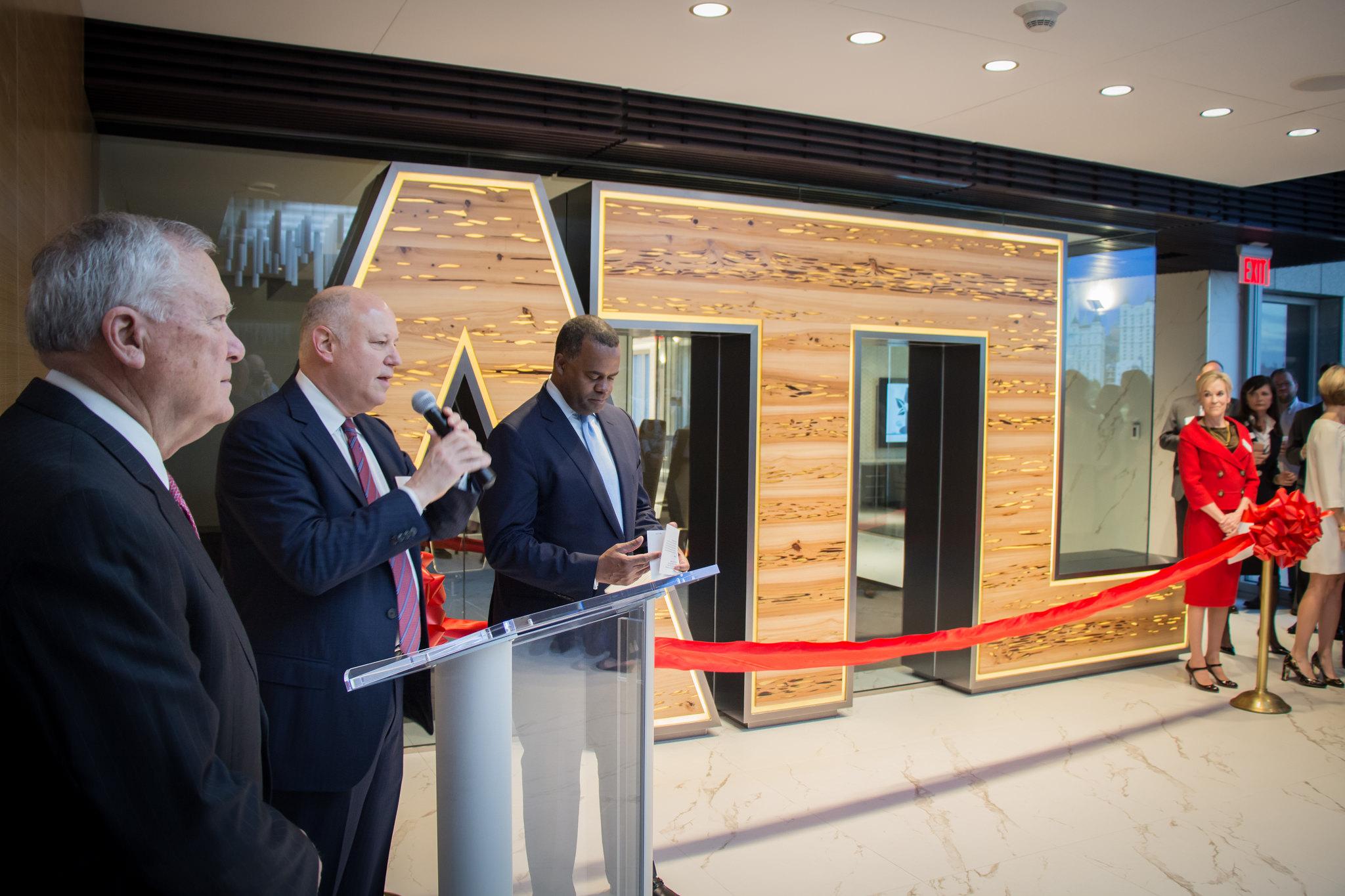 Georgia Gov. Nathan Deal and Atlanta Mayor Kasim Reed help christen the Metro Atlanta Chamber's new digs this morning.
