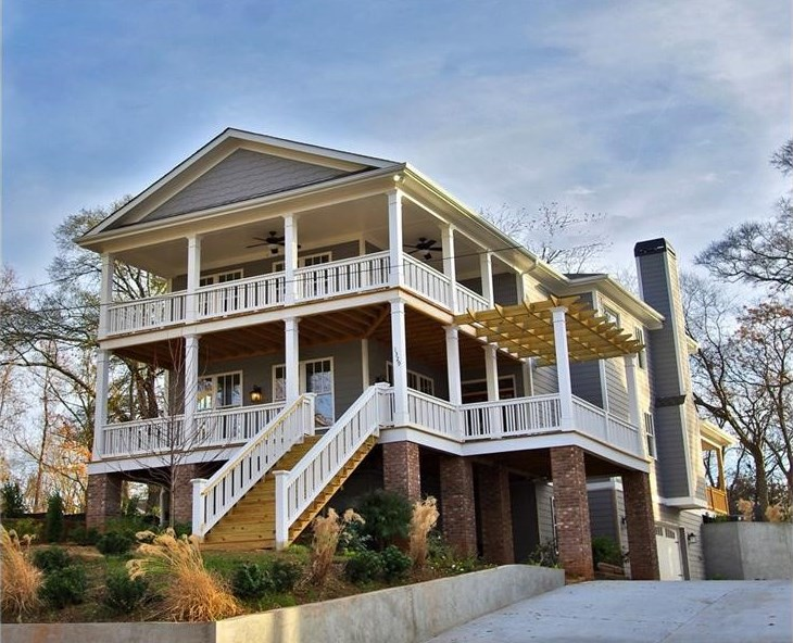 A new Edgewood home in Atlanta with porches all over the place.