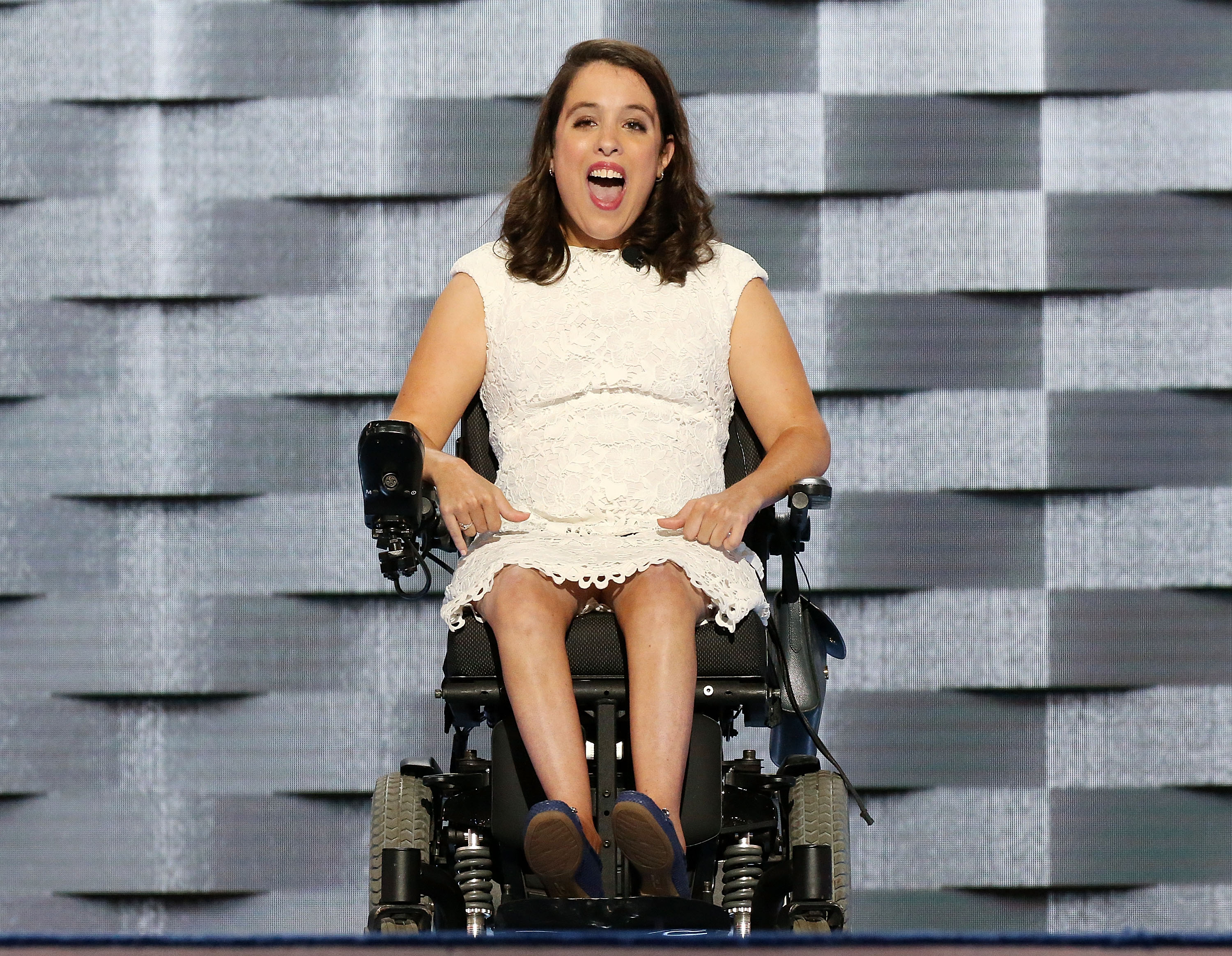 Anastasia Somoza, a disability rights advocate, speaks on the first day of the Democratic National Convention. She is sitting in a wheelchair.