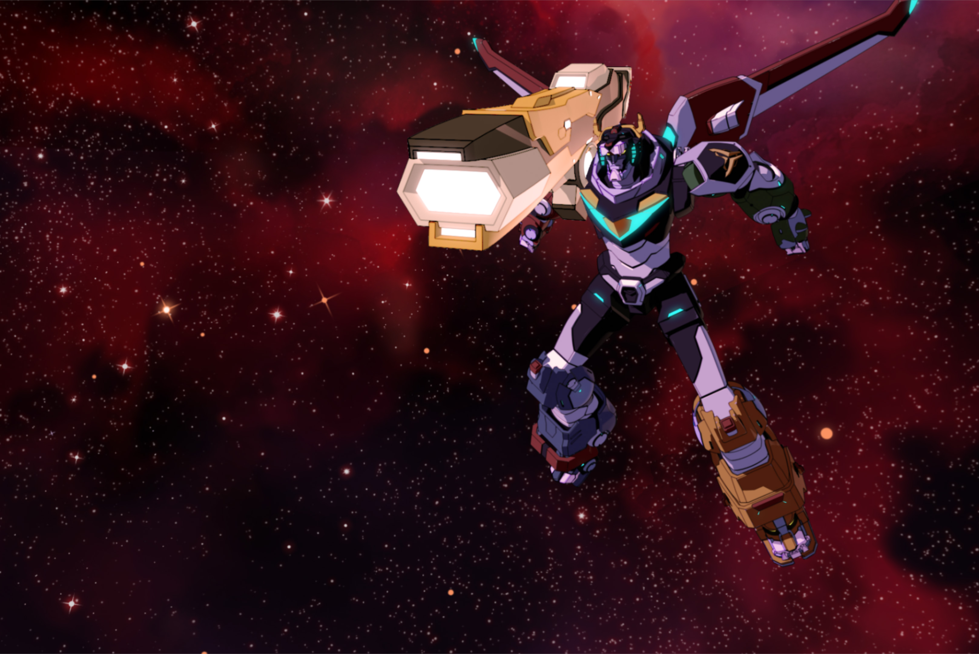 The complete Voltron mech, floating in space with a massive rifle.
