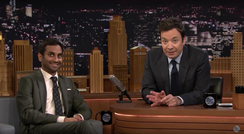 Aziz Ansari and Jimmy Fallon on the Tonight Show set.