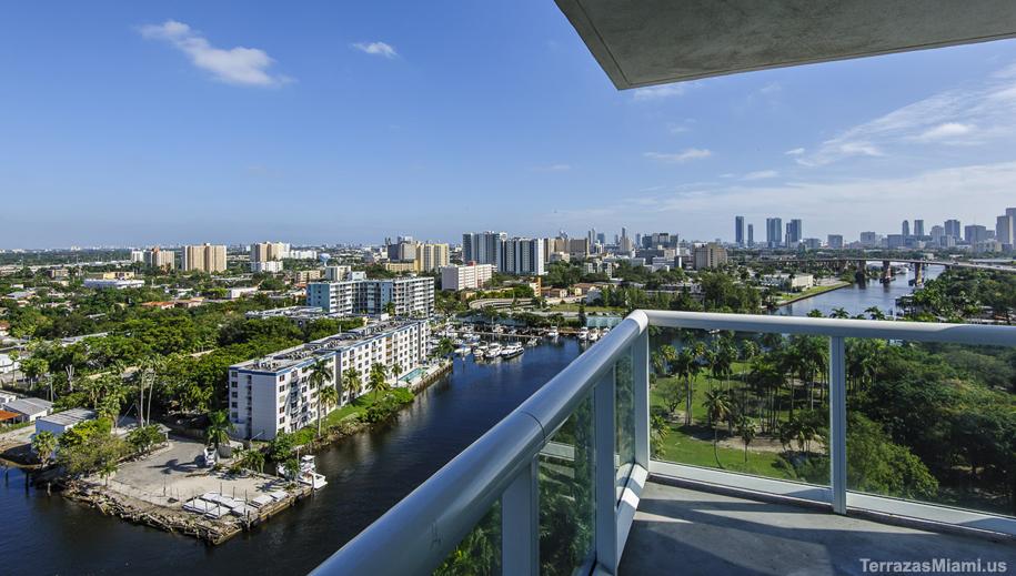 A river view from a corner unit in central Miami