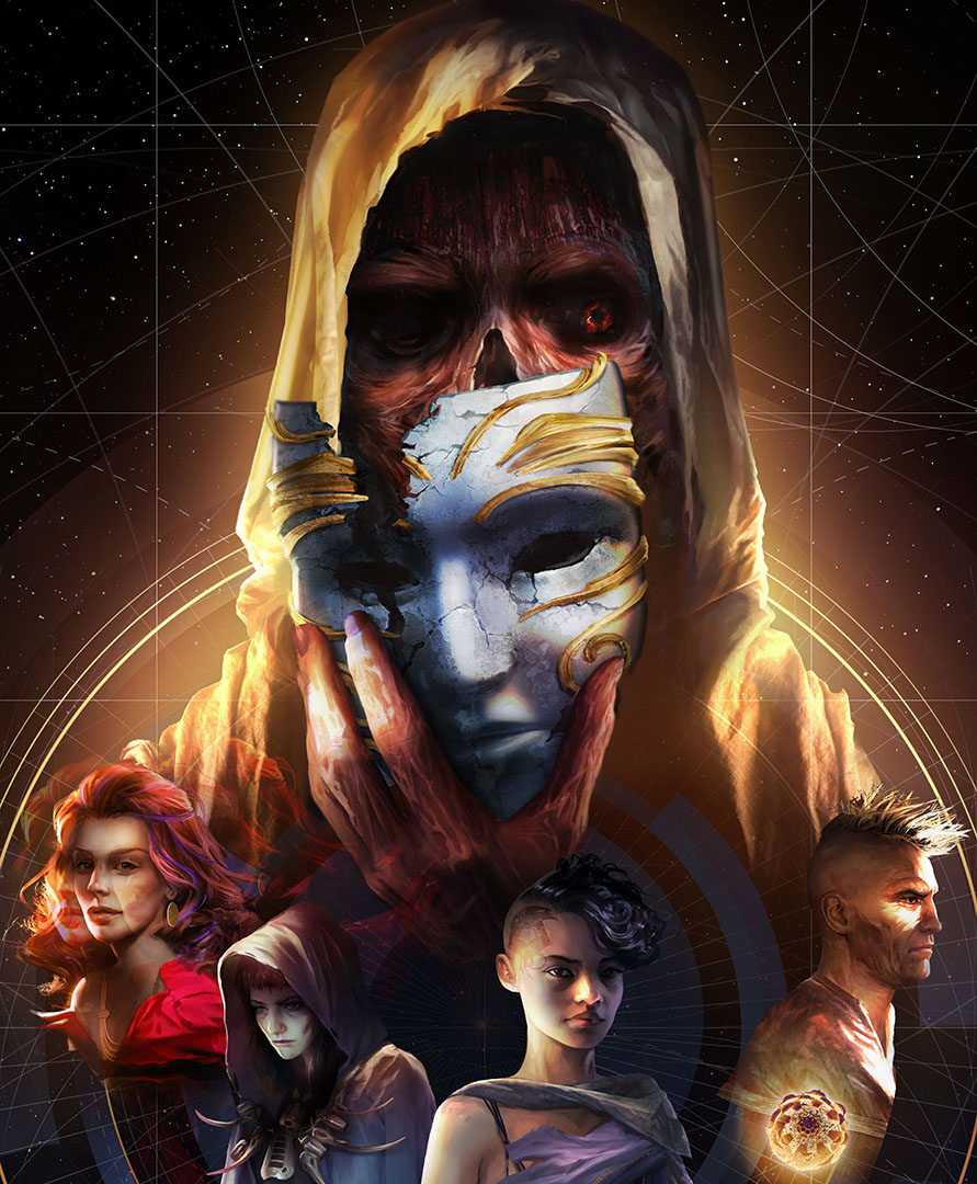 This key art from Torment: Tides of Numera, is a poster-style image of five figures. The largest is a robed figure who is removing a mask to reveal a ghoulish face beneath. In front of that character, four smaller figures are displayed — three women and a