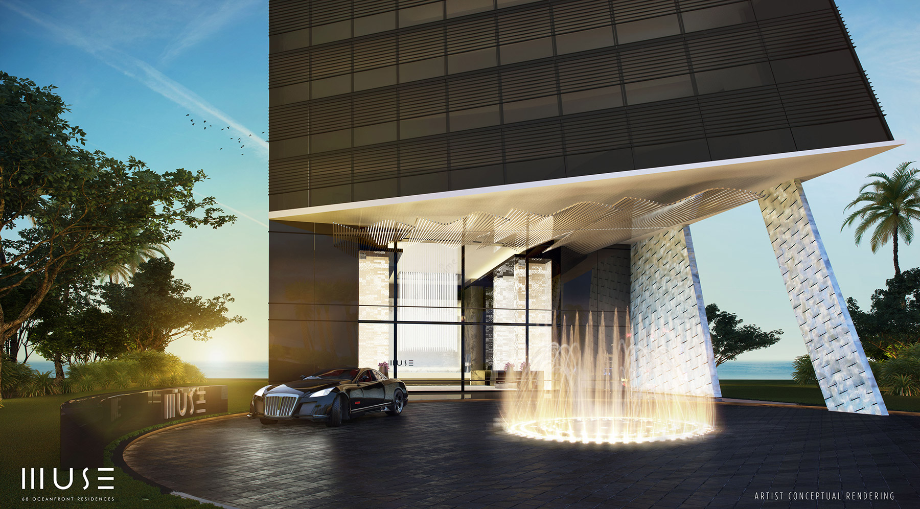 Rendering of a sleek entrance at Muse Sunny Isles
