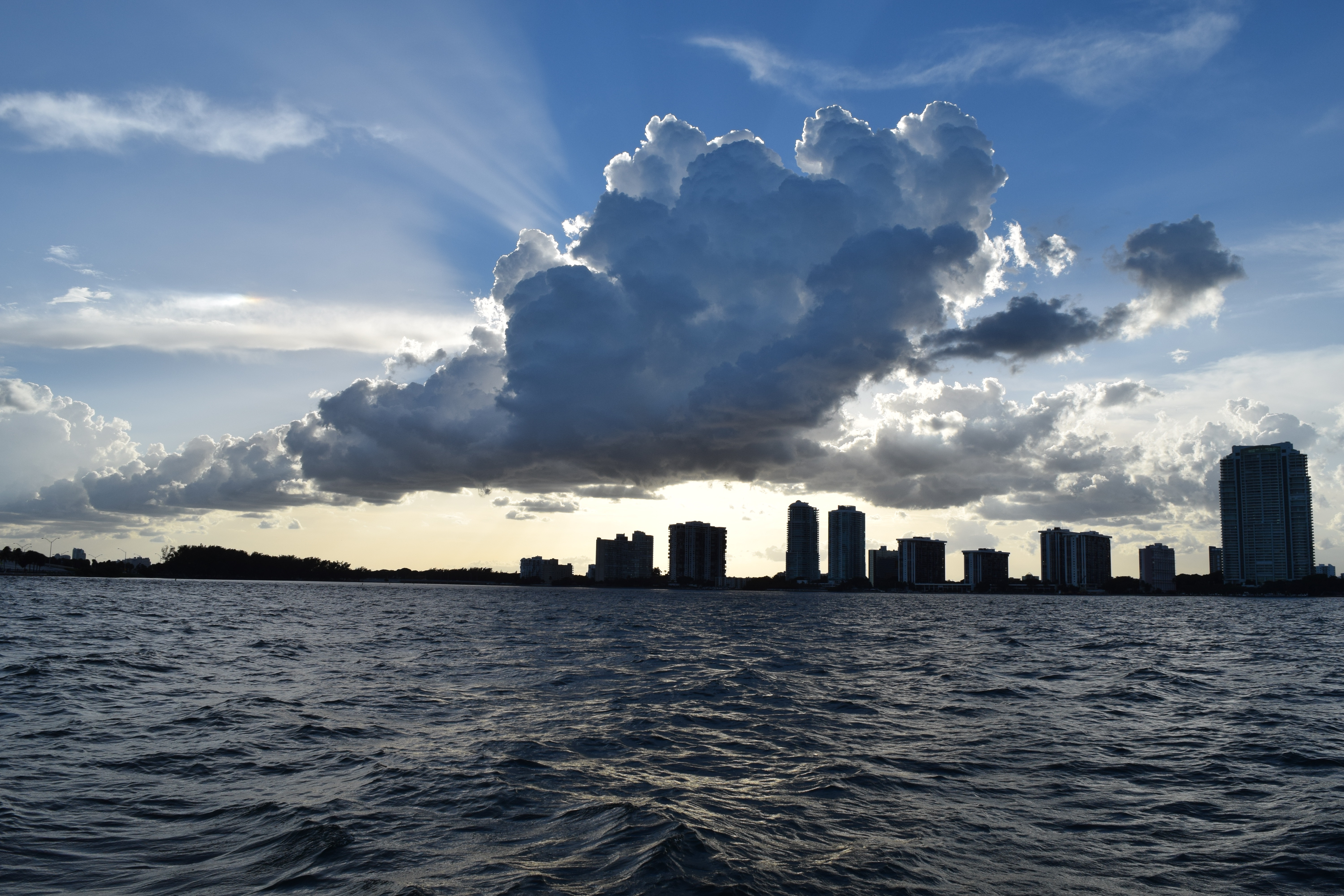 View from the boat of downtown Miami in Biscayne Bay