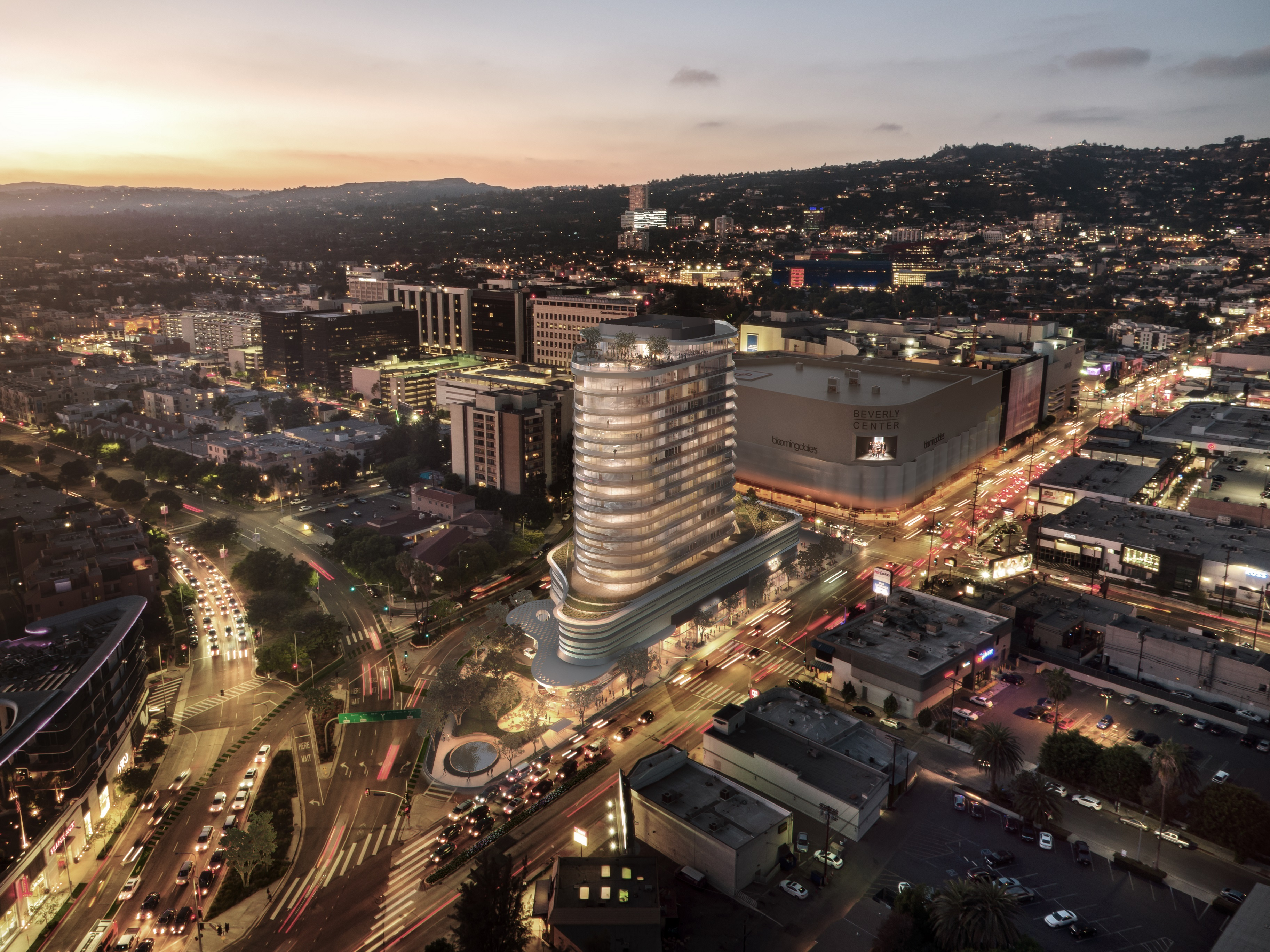A rendering of the 333 La Cienega project at night.