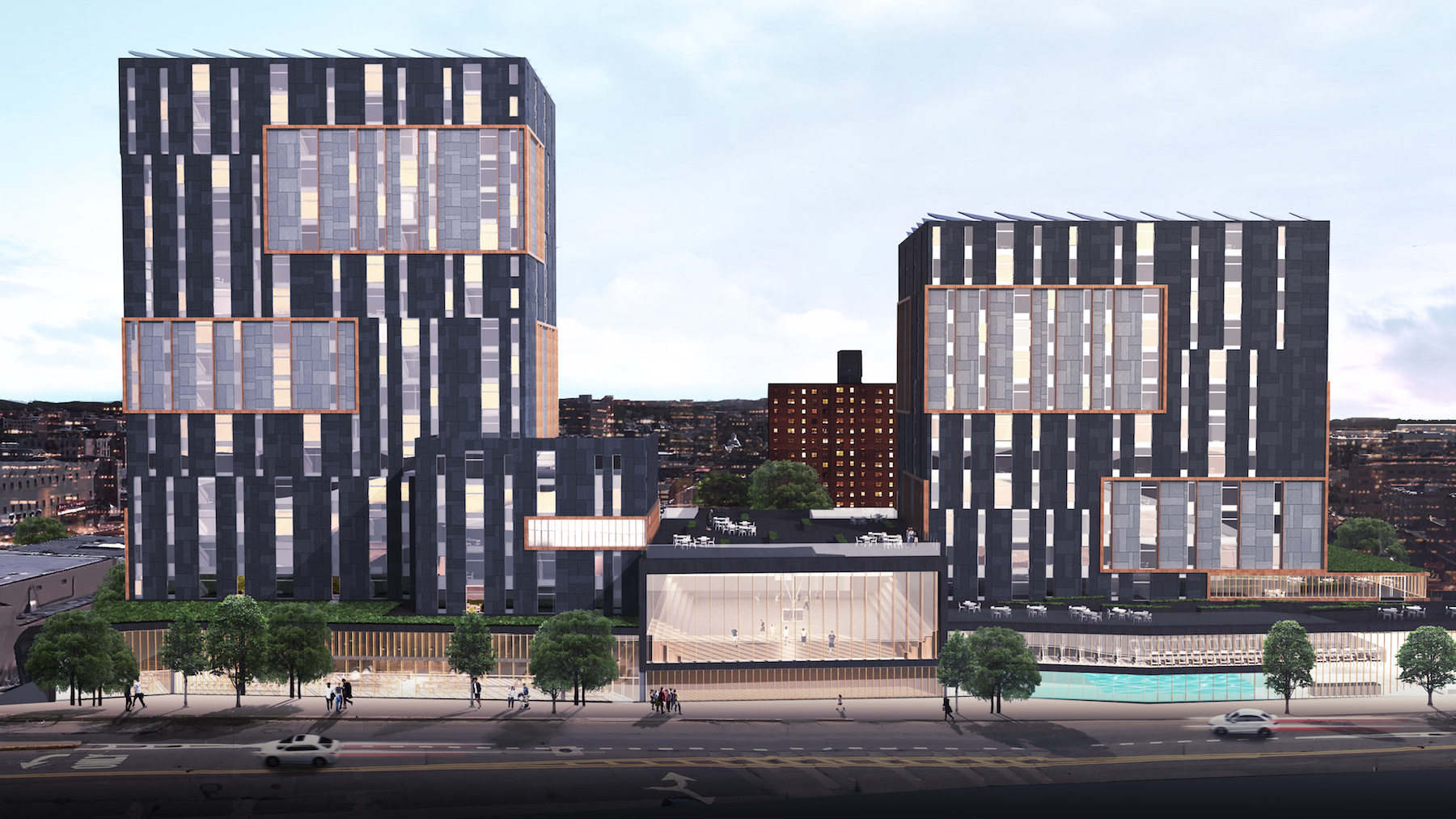 Two apartment buildings with black and white exteriors in Jamaica, Queens.