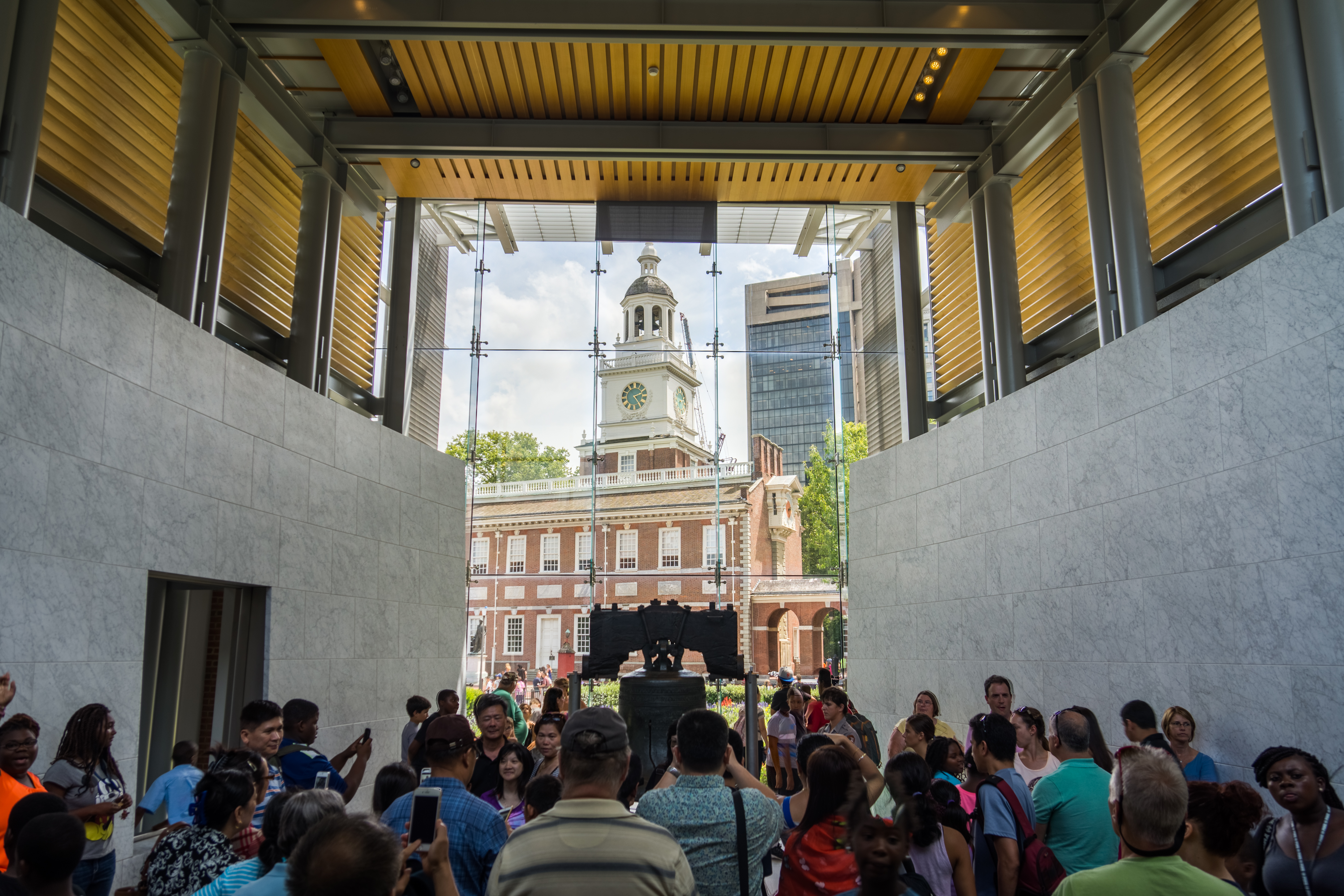 Inside the Liberty Bell Center looking out toward Independence Hall in Philadelphia.