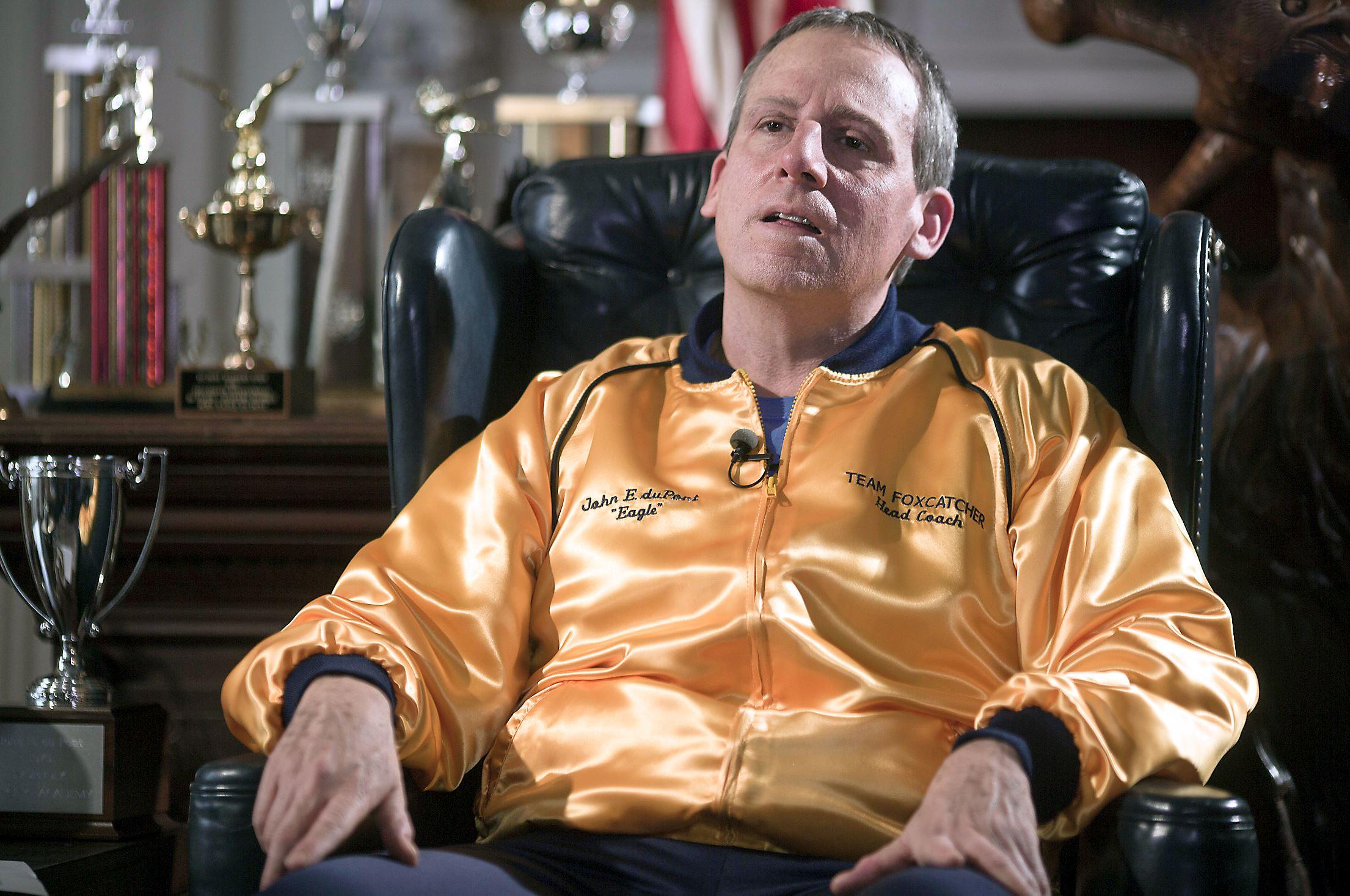 Steve Carrell plays delusiona billionaire John du Pont in Bennett Miller's Foxcatcher (2014).