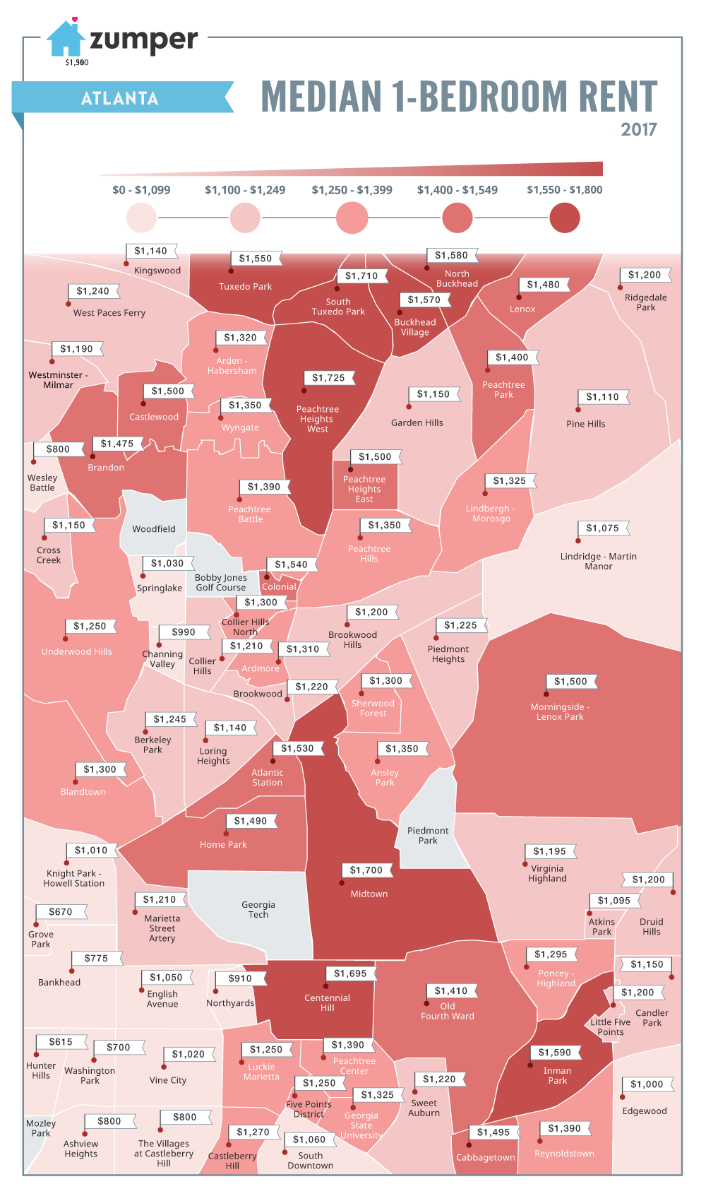 A graphic showing rents in January across intown Atlanta.