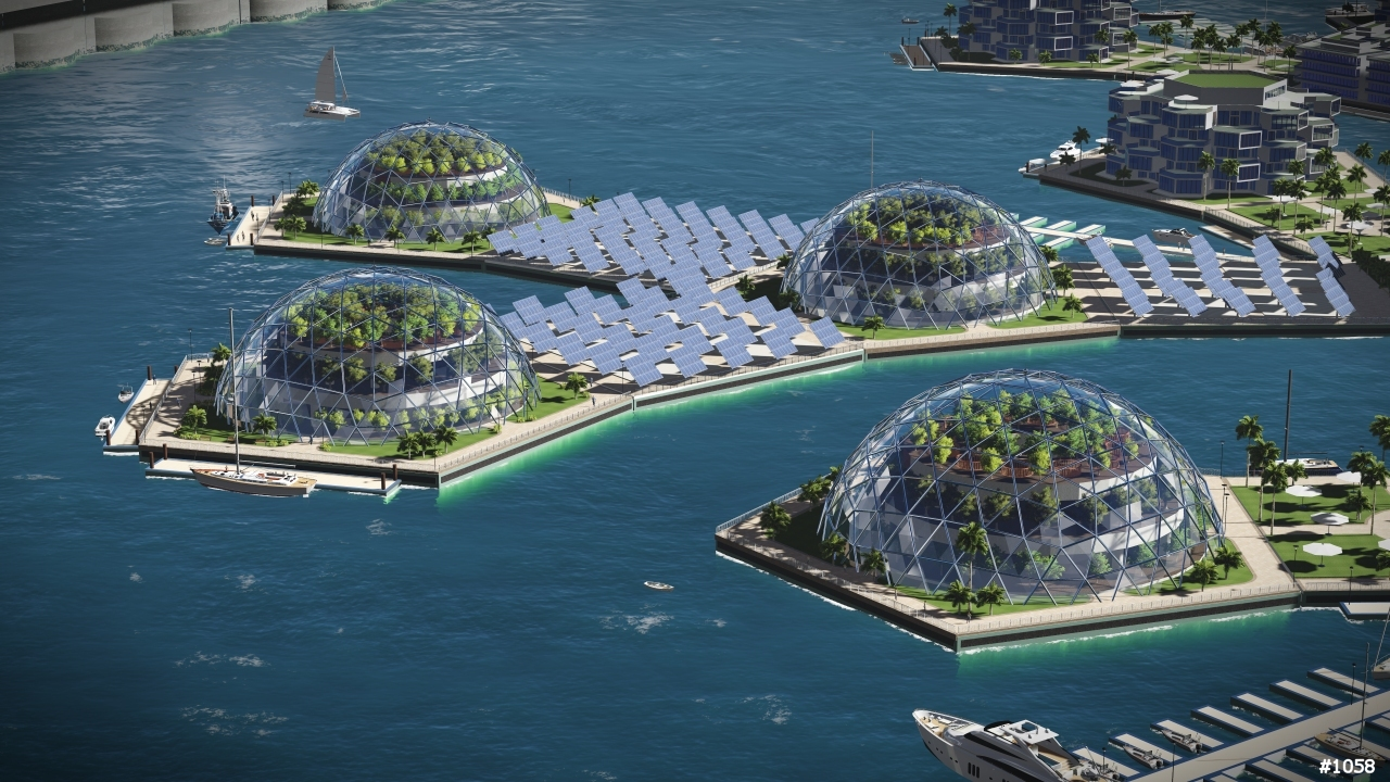 A rendering of an artificial floating island in French Polynesia