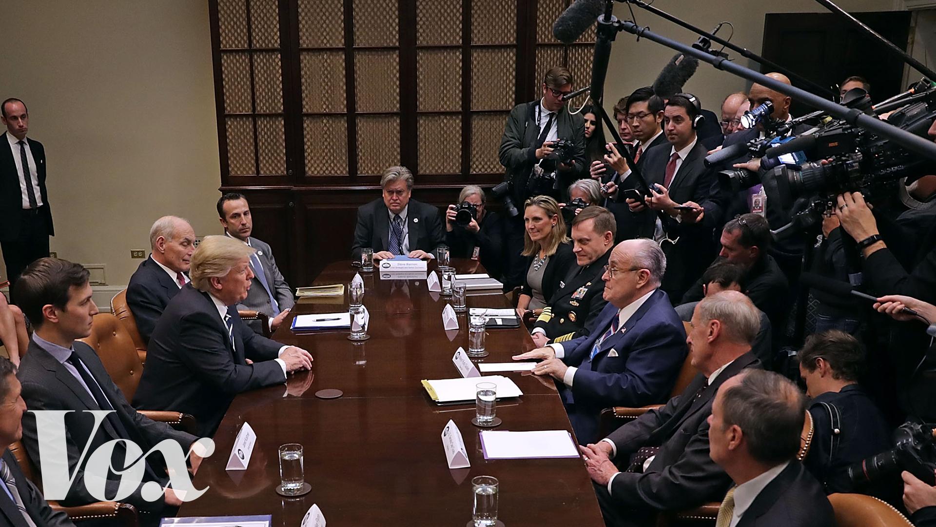 Trump faces reporters