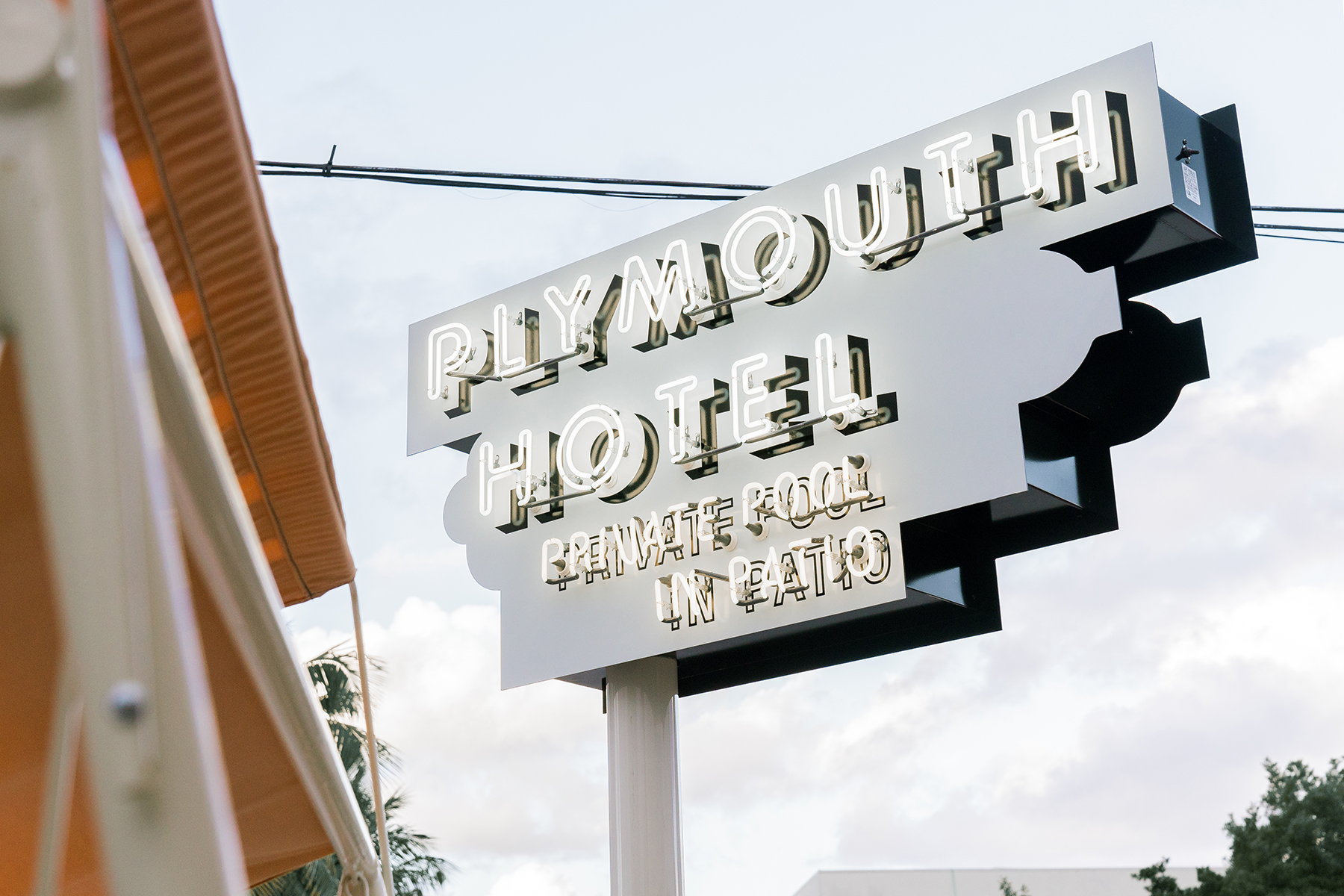 Sign of the The Plymouth Hotel in Miami Beach