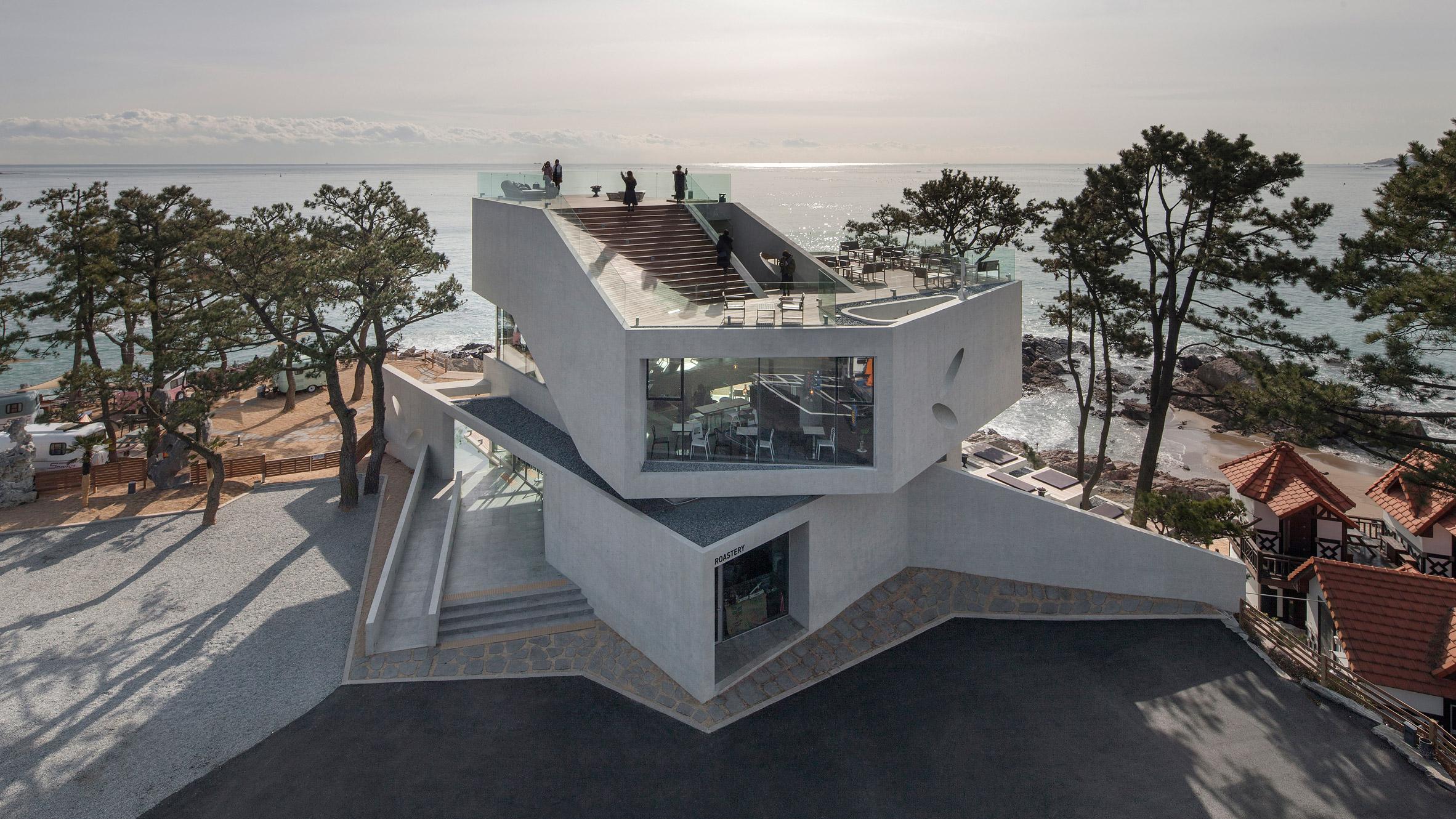 Angular concrete cafe frames stunning sea views in South Korea