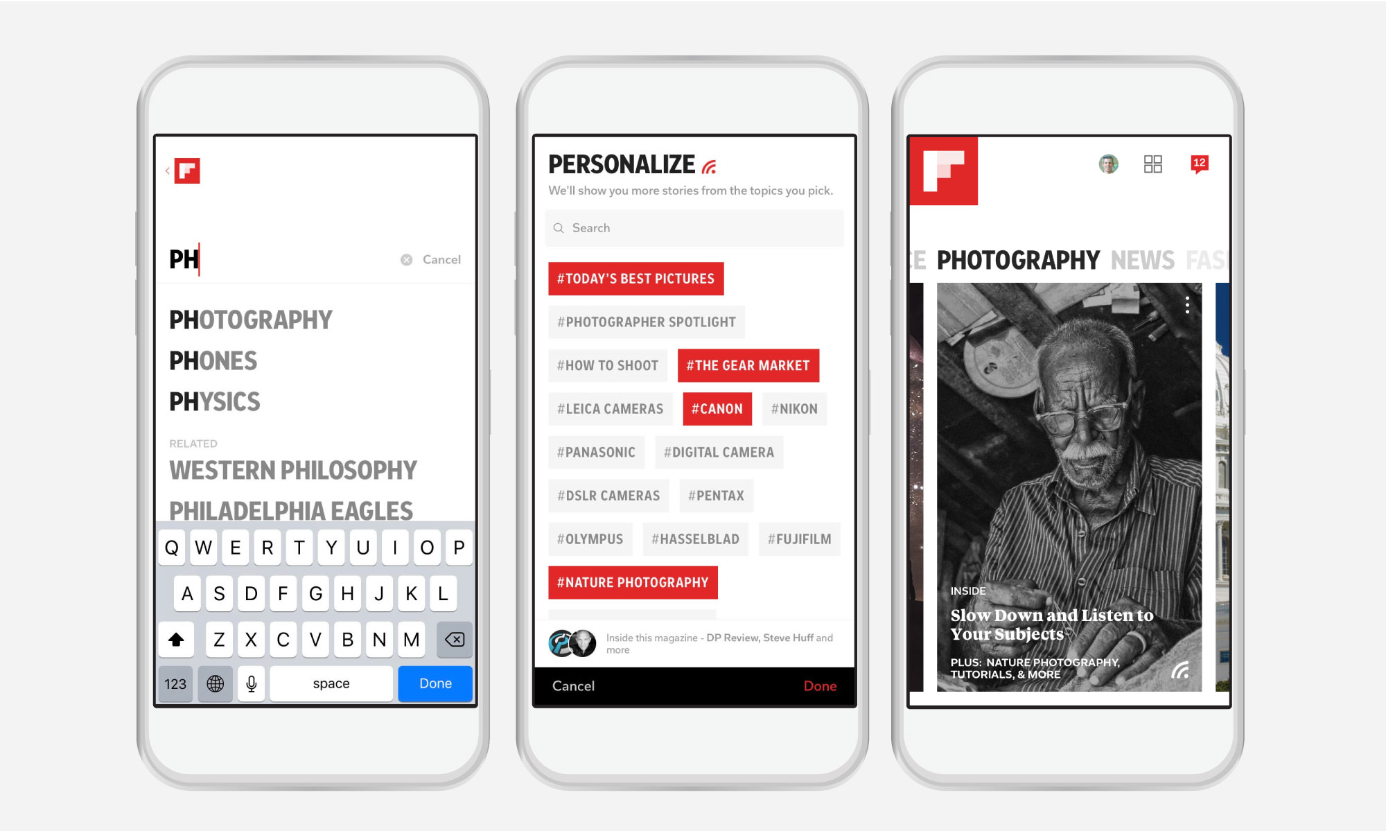 Flipboard's new passion picker interface