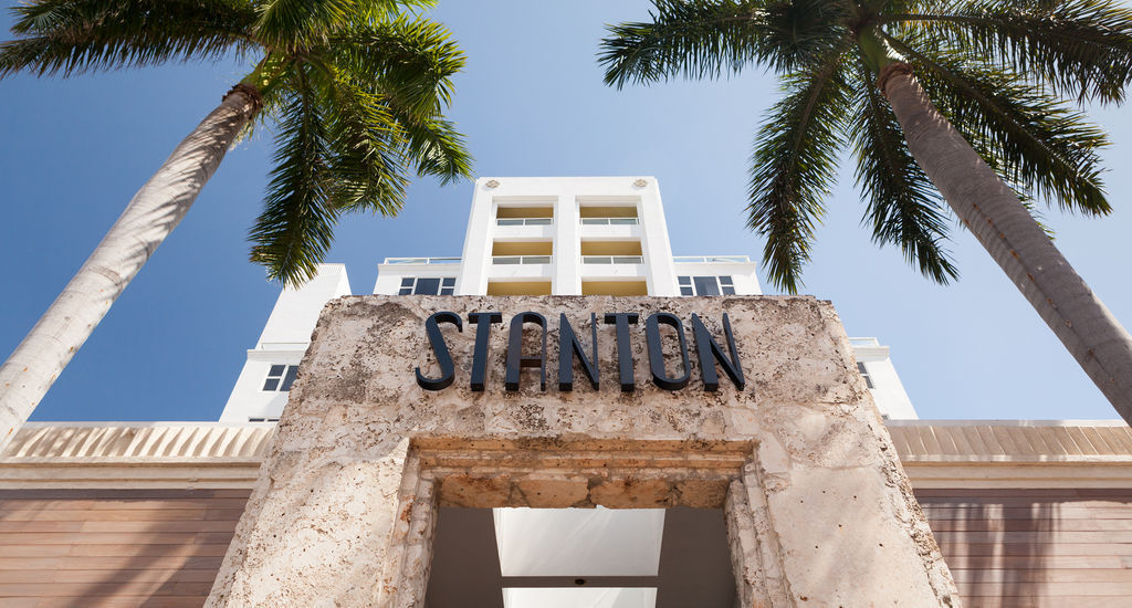 The facade at the Marriott Stanton South Beach