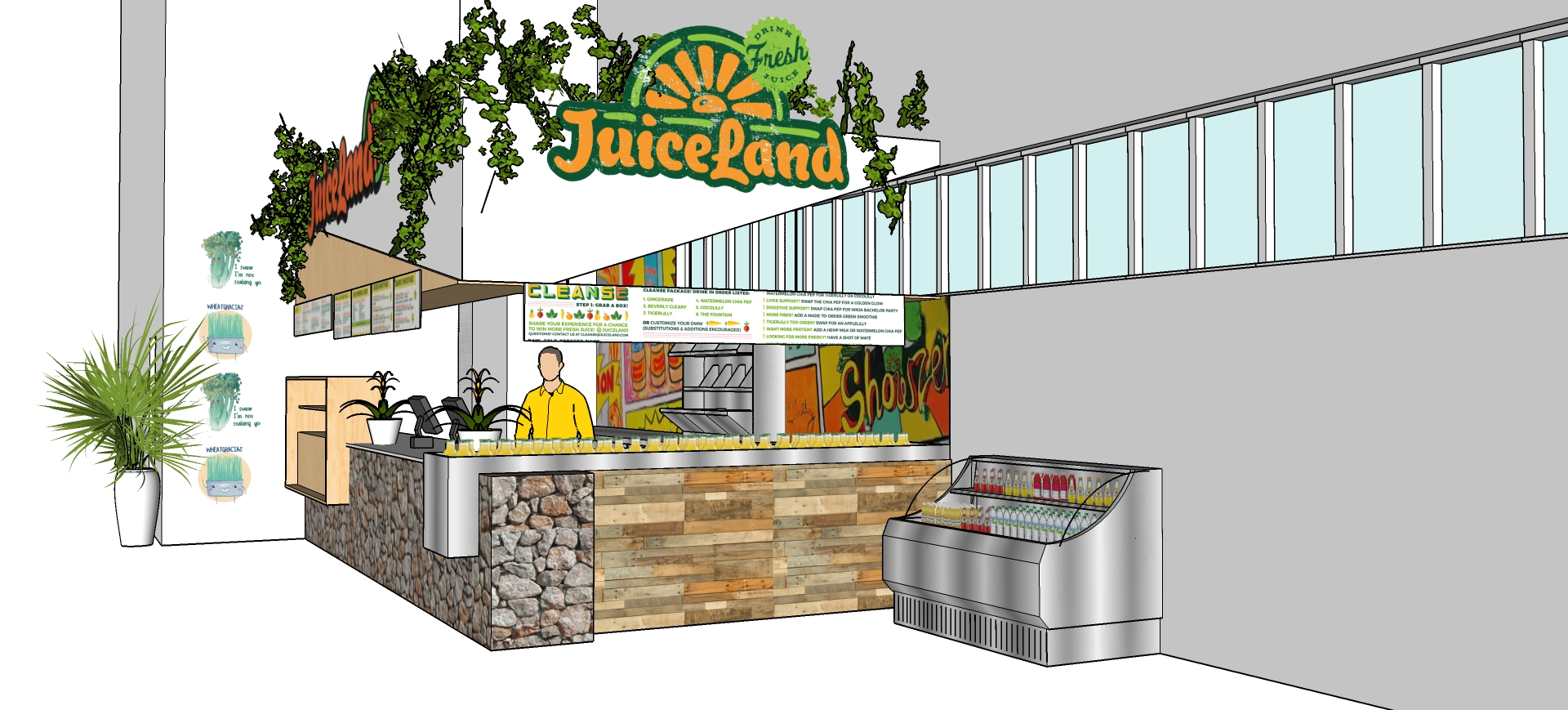 Rendering of JuiceLand's setup at 365 by Whole Foods